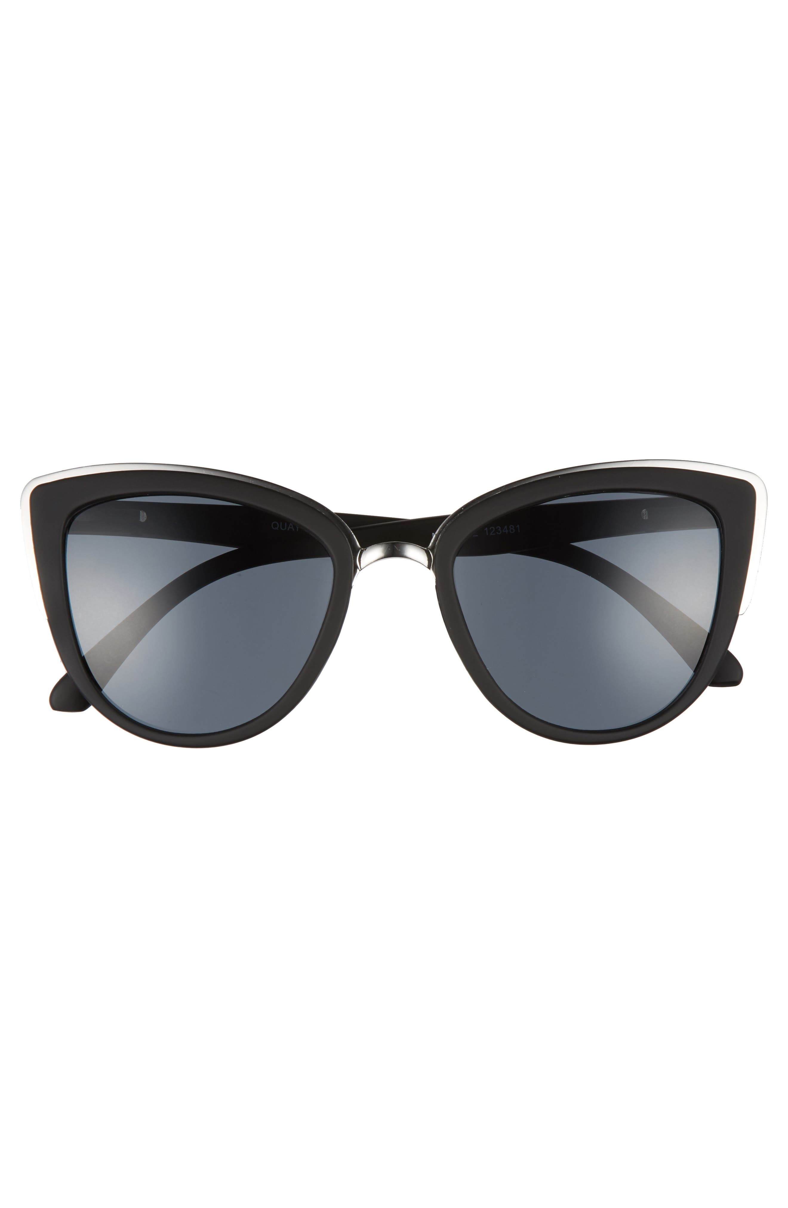 'My Girl' 50mm Cat Eye Sunglasses,                             Alternate thumbnail 4, color,                             Black/ Smoke Lens