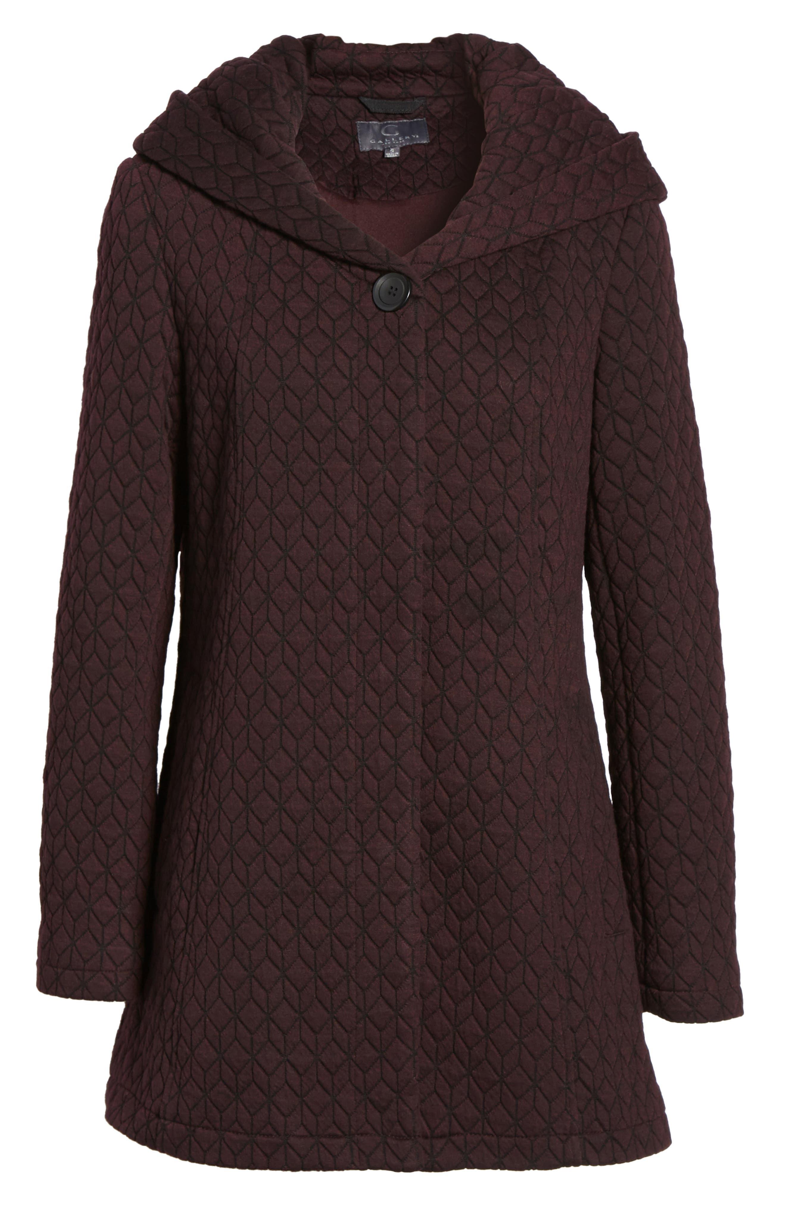 Cozy Knit Coat,                             Alternate thumbnail 6, color,                             Burgundy