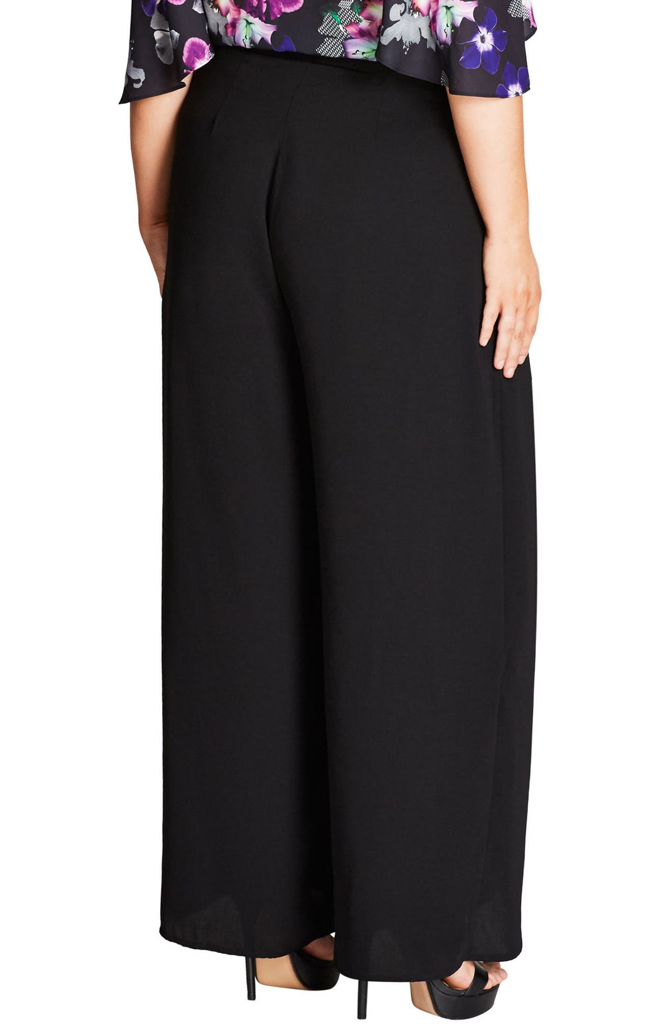 Alternate Image 2  - City Chic Split Front Wide Leg Pants (Plus Size)