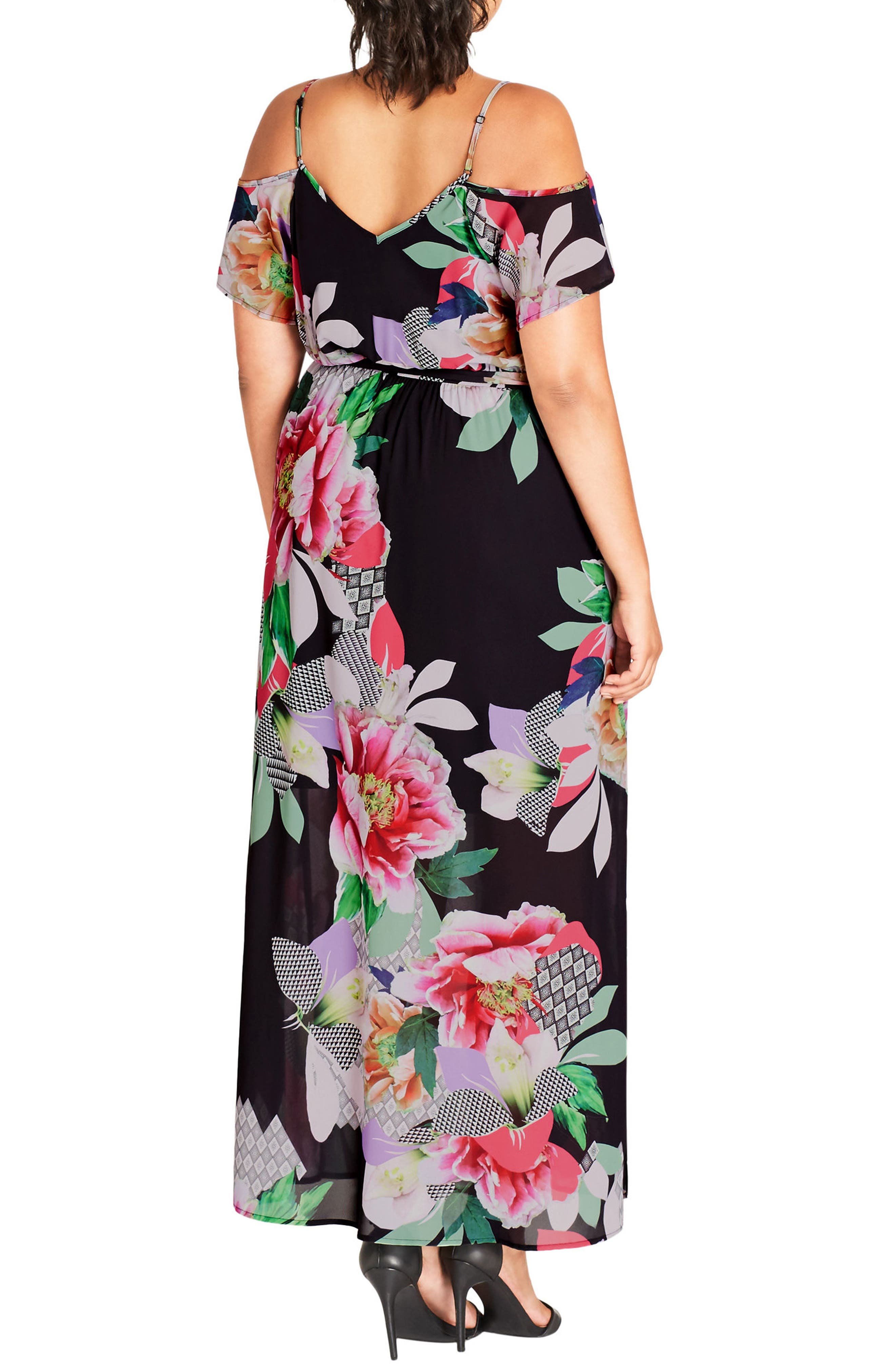 Alternate Image 2  - City Chic Romantic Pop Maxi Dress (Plus Size)