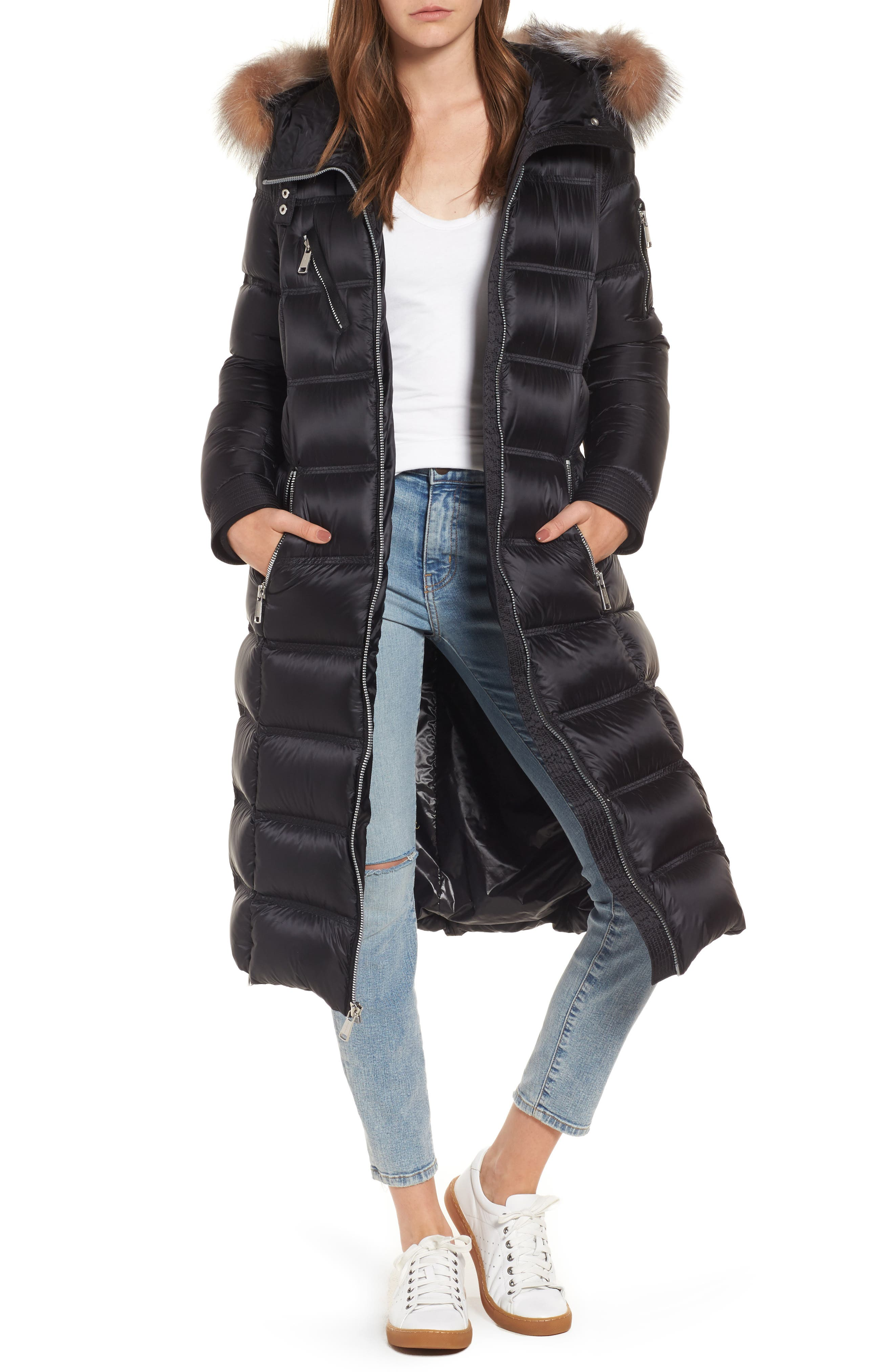 Charlize 42 Hooded Water Resistant Down Coat with Genuine Fox Fur Trim,                             Main thumbnail 1, color,                             Black