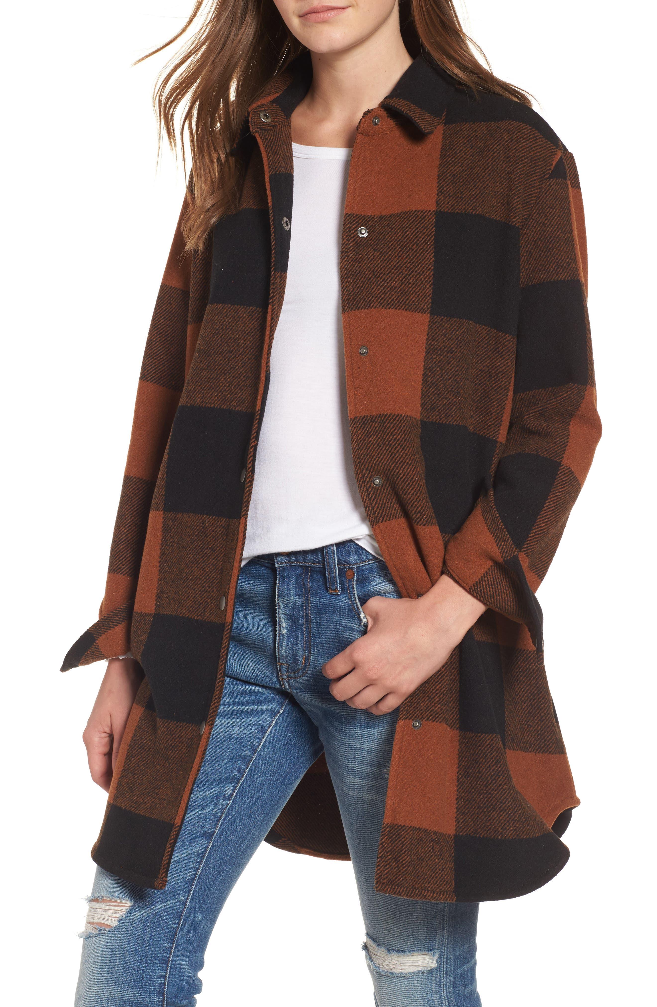 Eldridge Oversize Buffalo Check Shirt Jacket,                         Main,                         color, Cognac