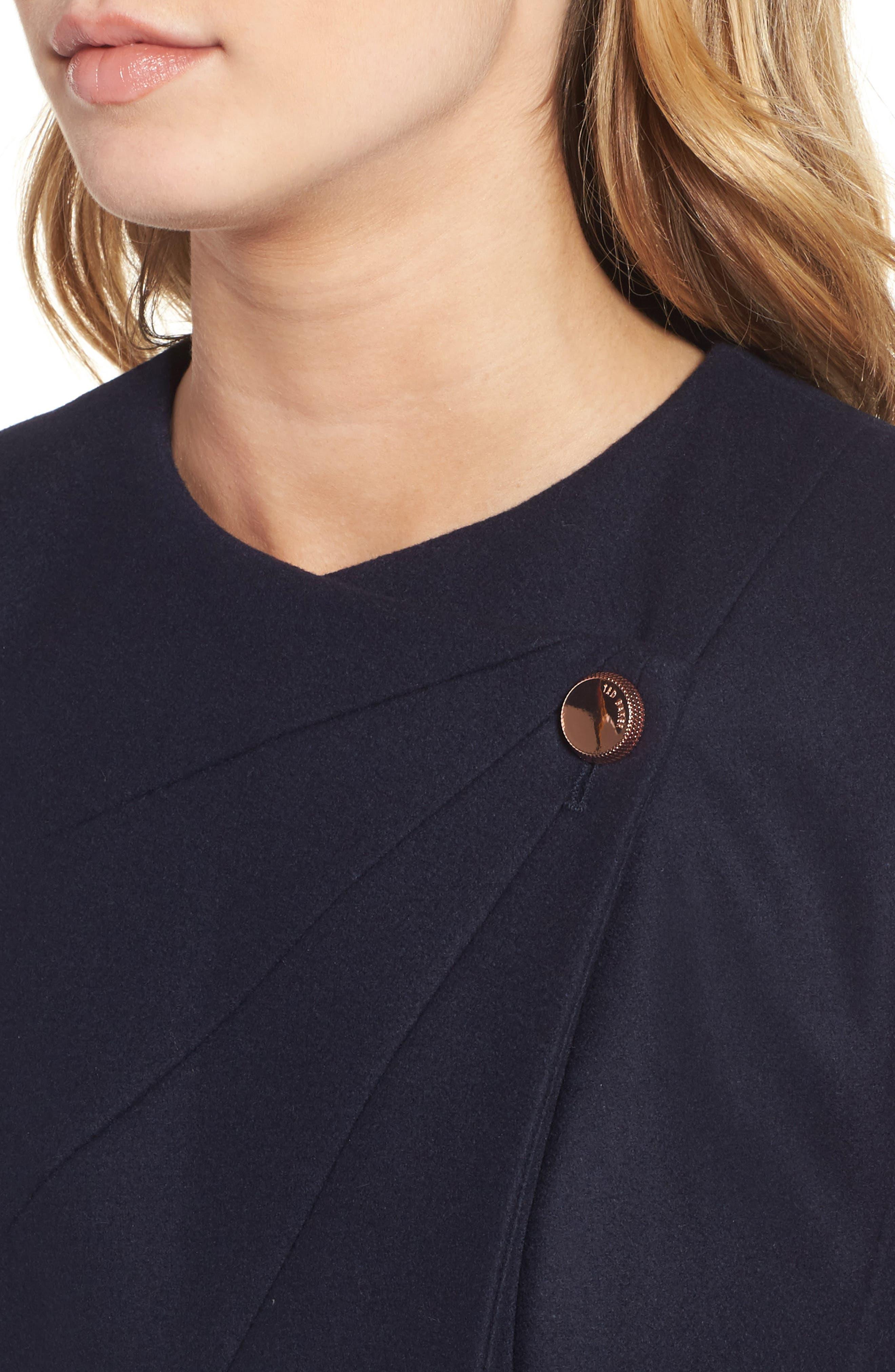 Wool Blend Asymmetrical Skirted Coat,                             Alternate thumbnail 4, color,                             Navy