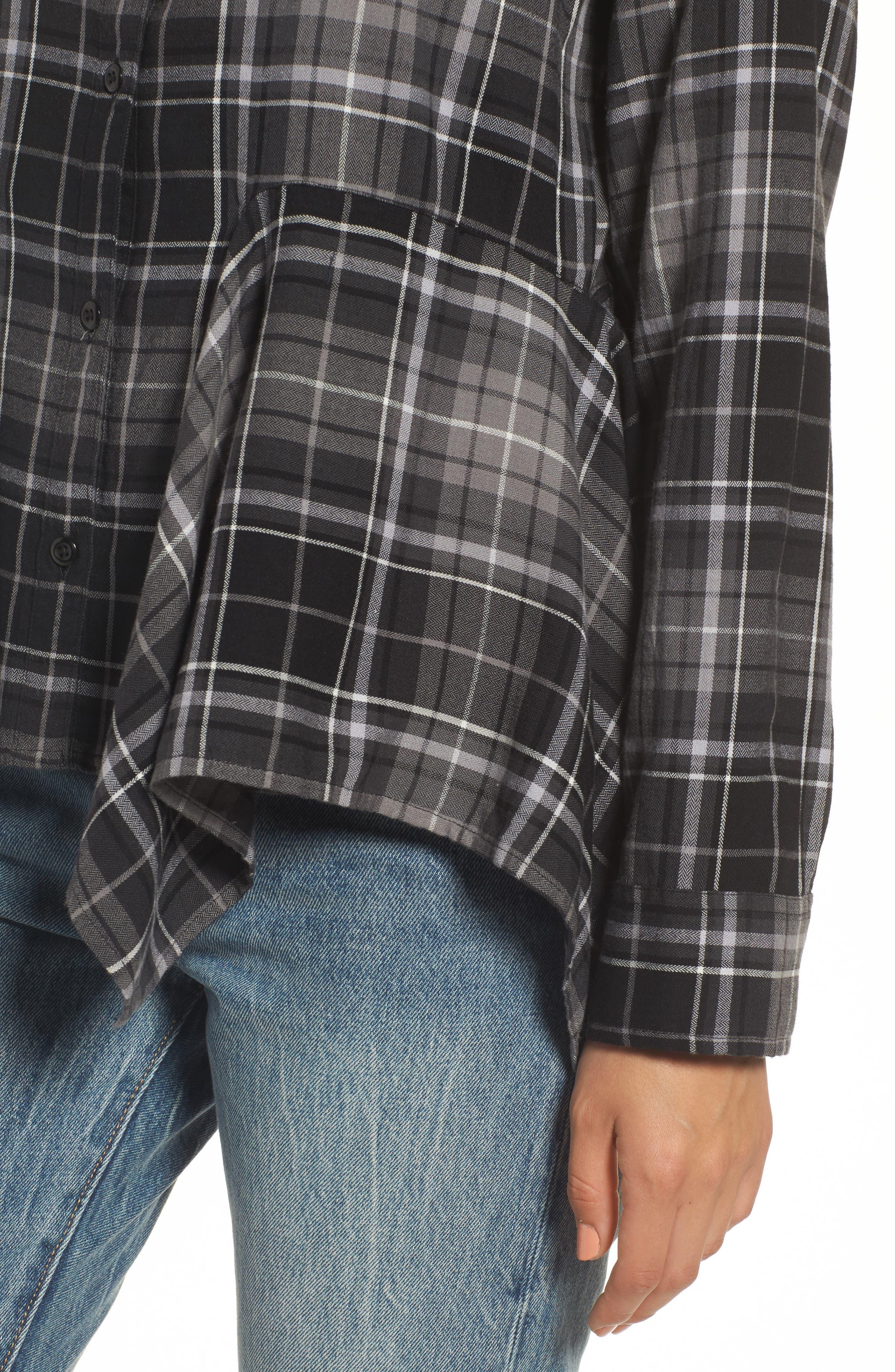 Plaid Godet Detail Shirt,                             Alternate thumbnail 4, color,                             Black Evie Plaid