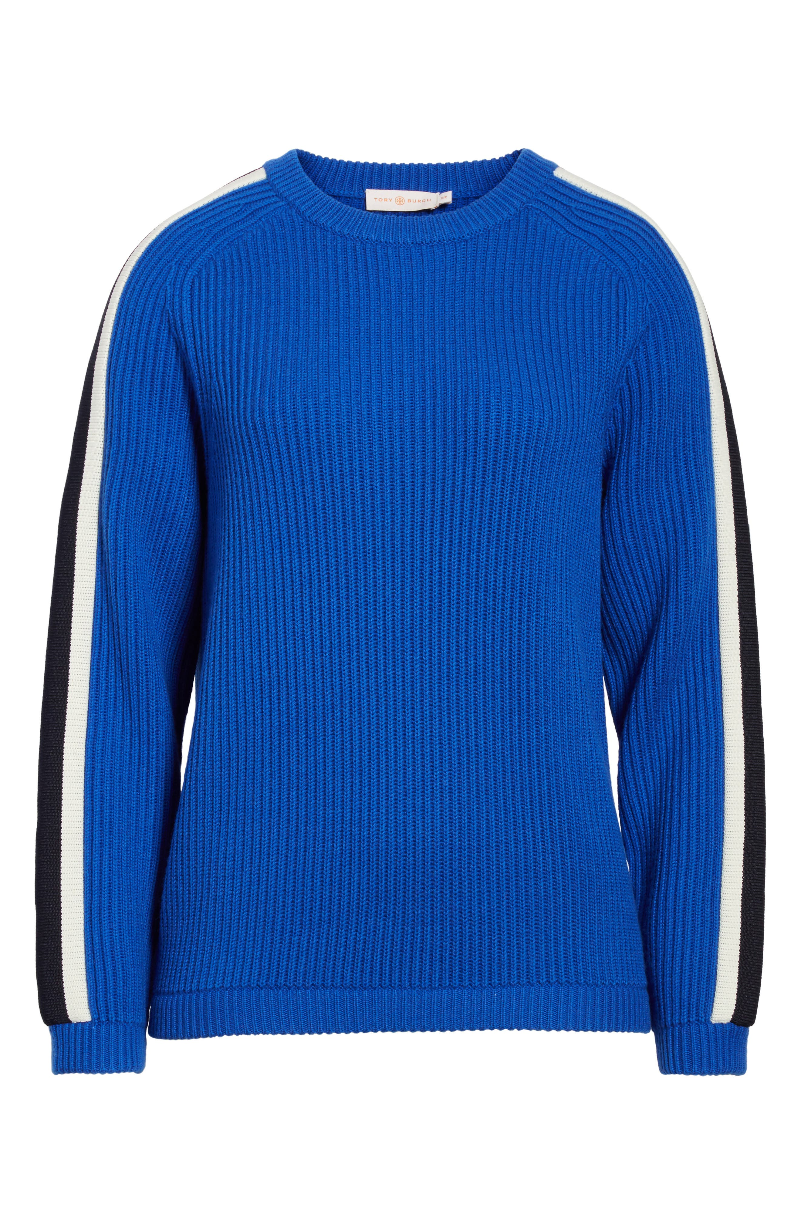 Alternate Image 6  - Tory Burch Val Stripe Sleeve Sweater