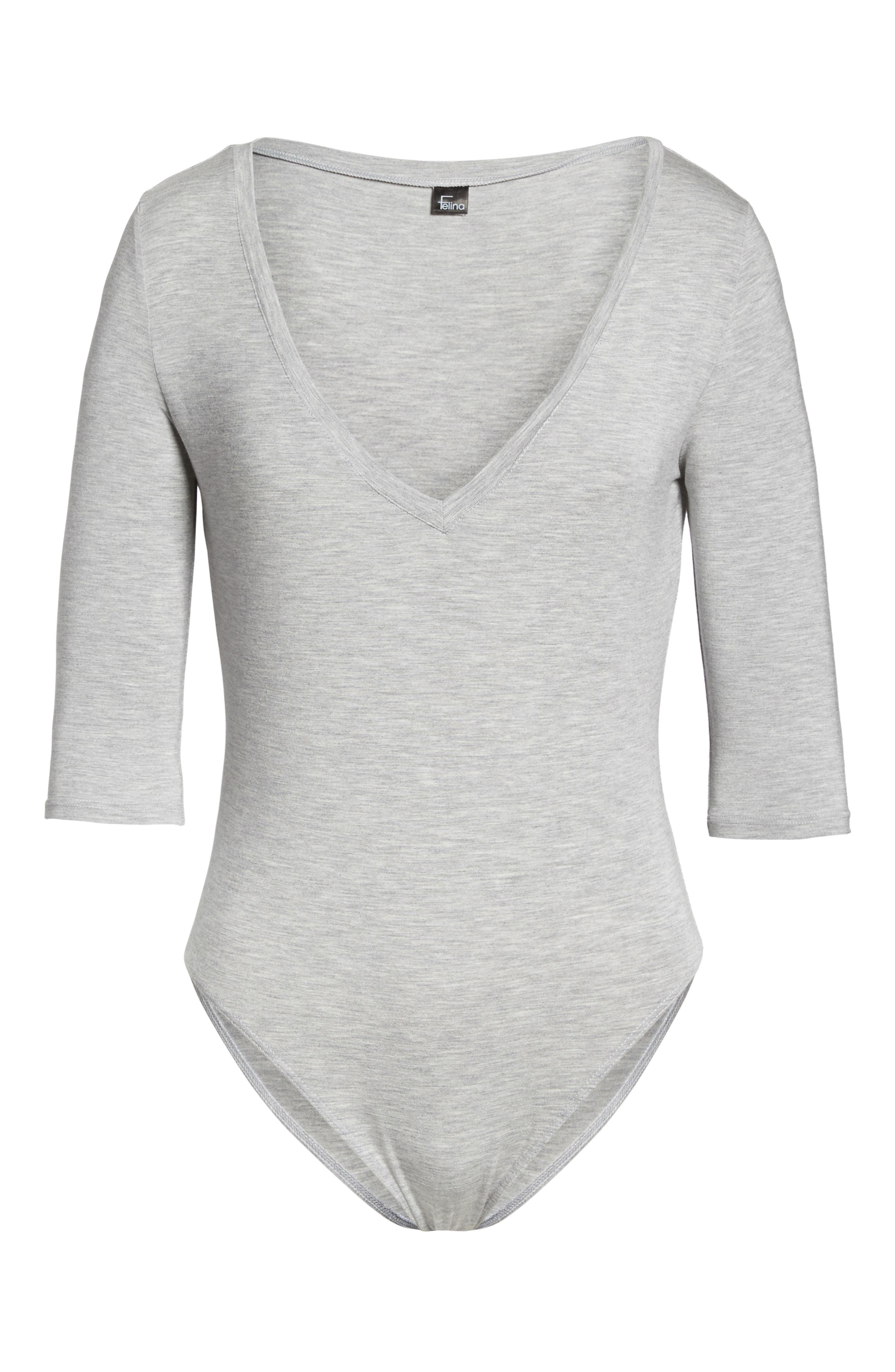 Modal Bodysuit,                             Alternate thumbnail 6, color,                             Grey