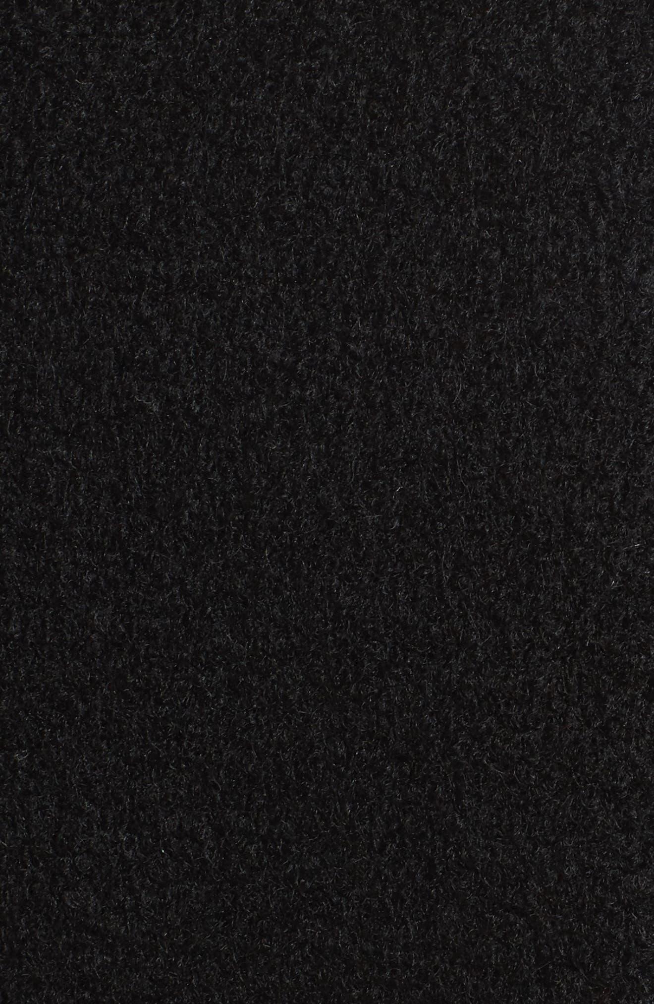 Belted Boiled Wool Blend Coat,                             Alternate thumbnail 5, color,                             Black