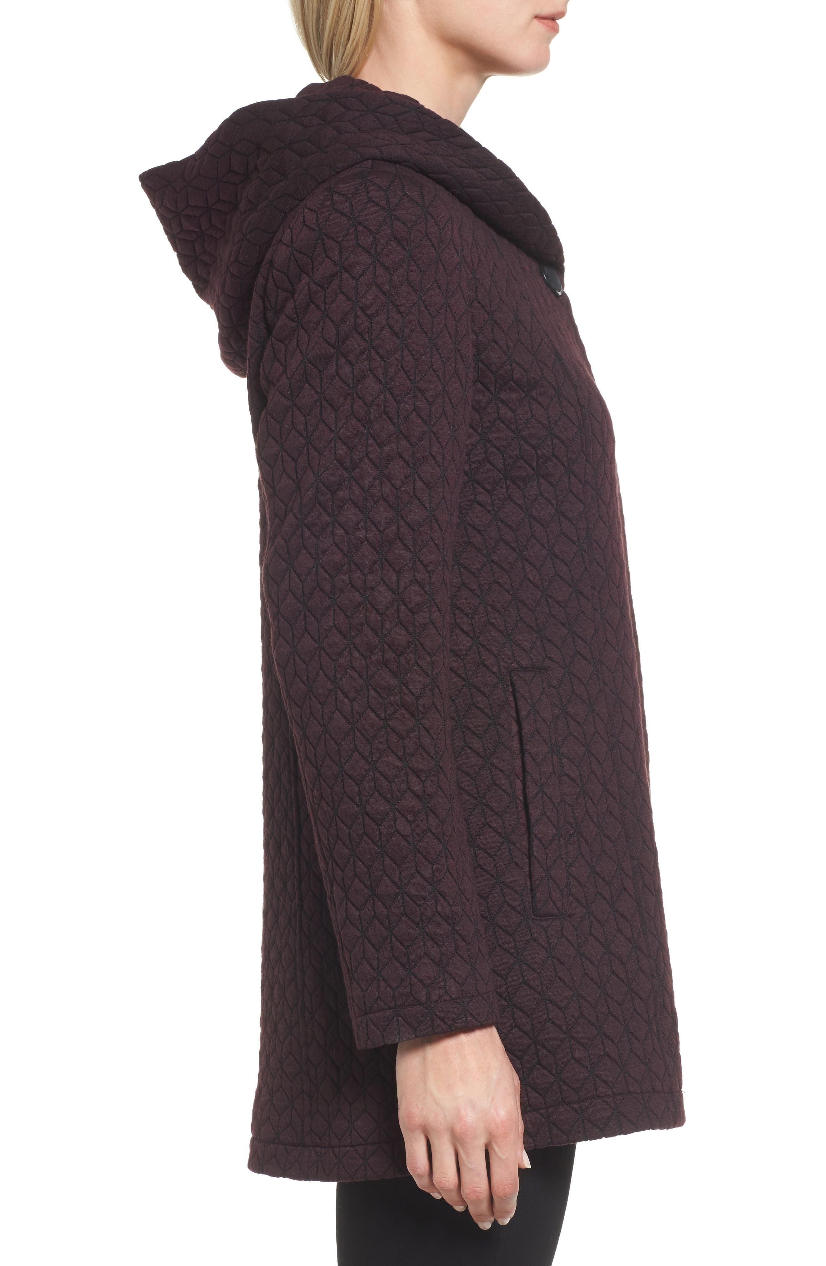 Cozy Knit Coat,                             Alternate thumbnail 3, color,                             Burgundy