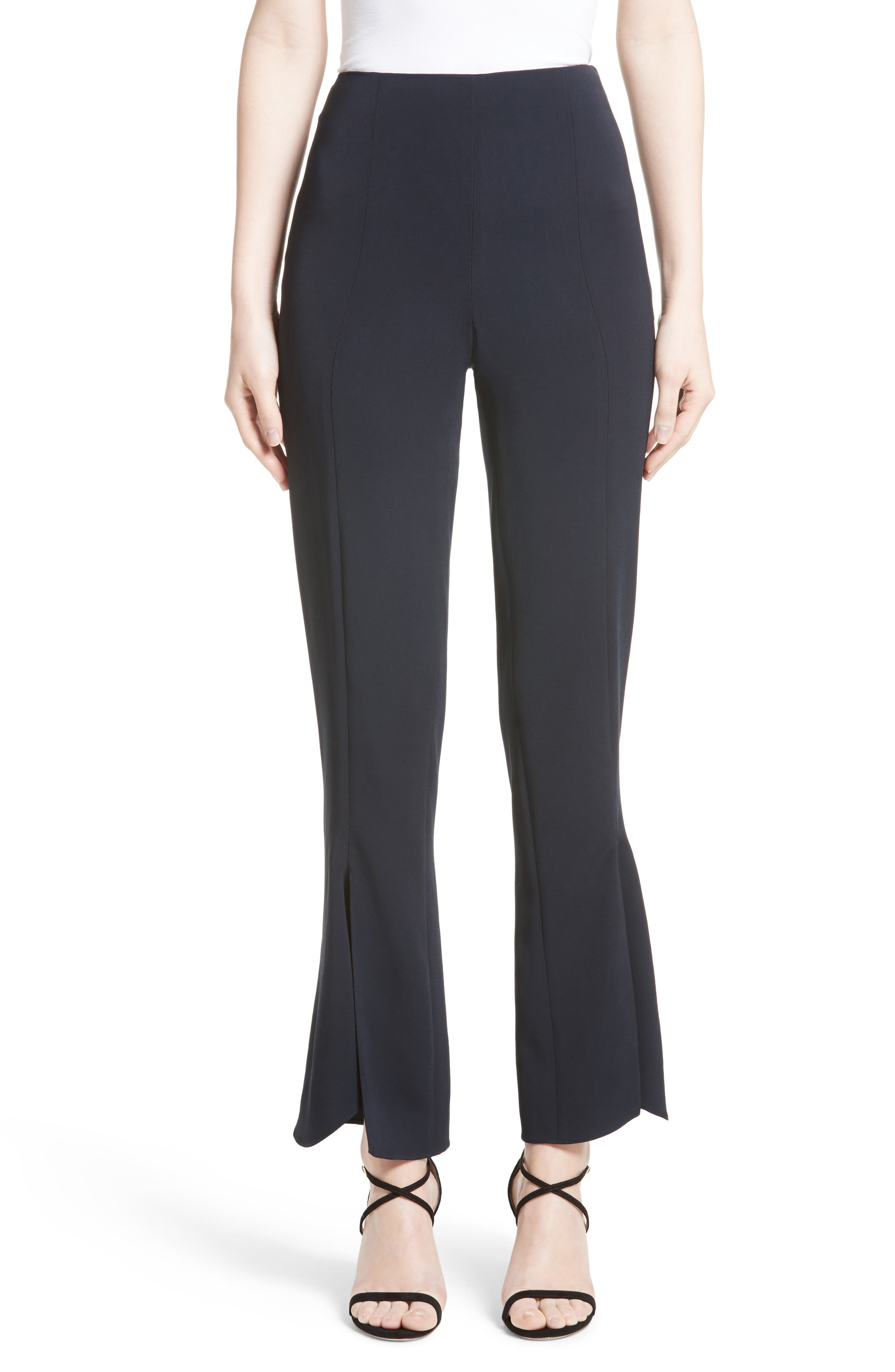 Slit Hem Crop Pants,                         Main,                         color, Midnight