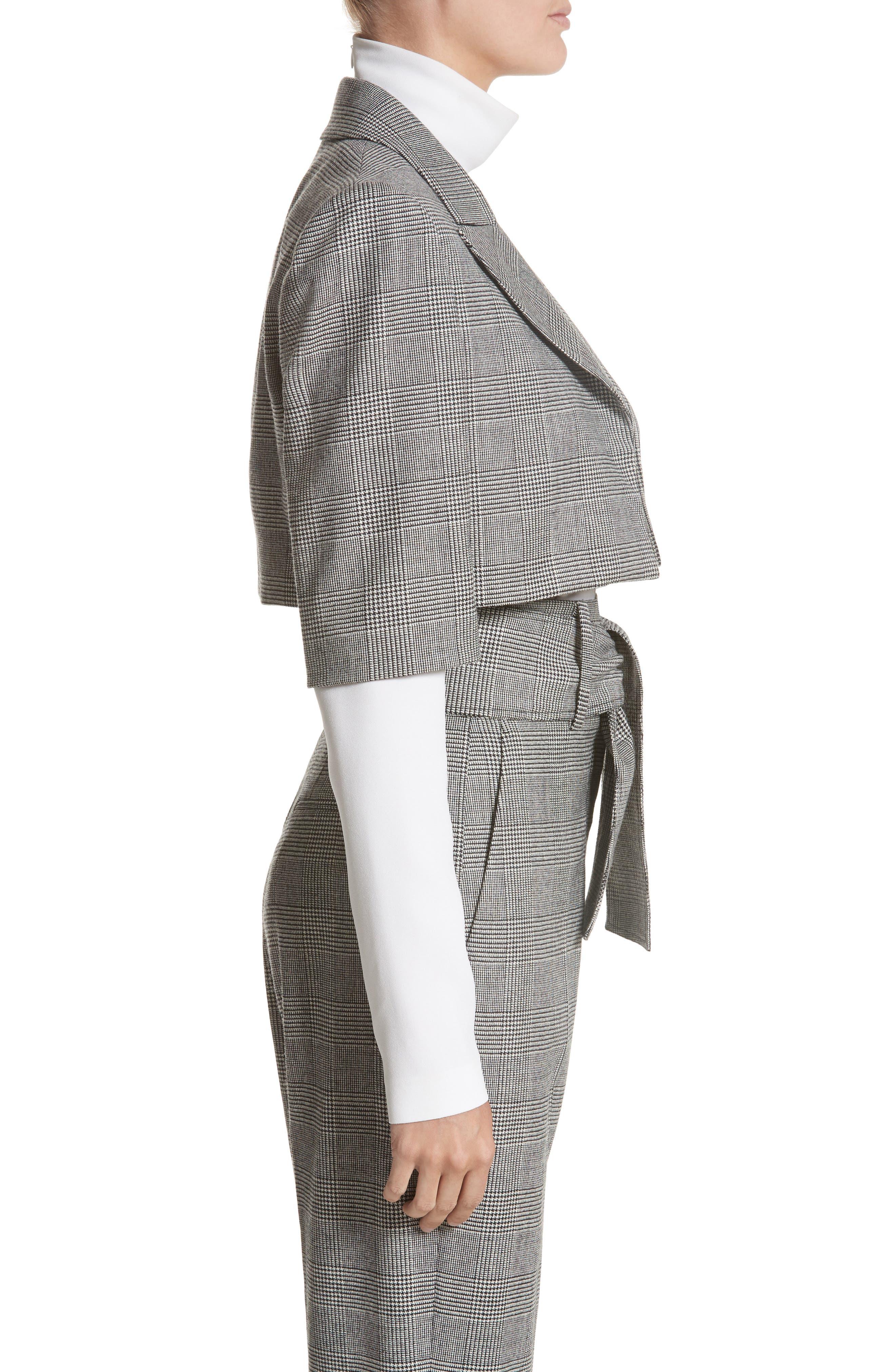 Glen Plaid Crop Jacket,                             Alternate thumbnail 4, color,                             Black/ White