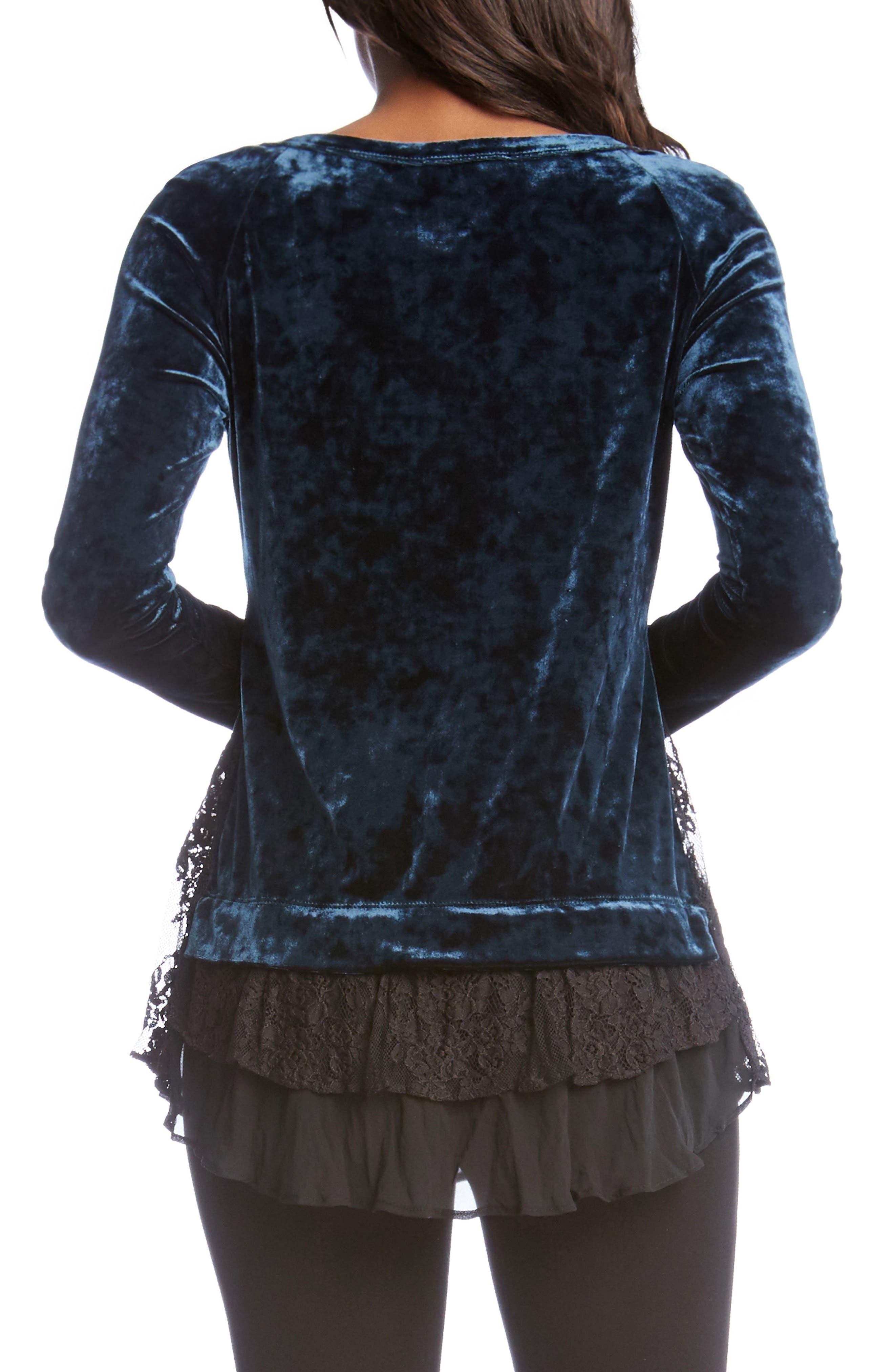 Alternate Image 2  - Karen Kane Lace Hem Velvet Top