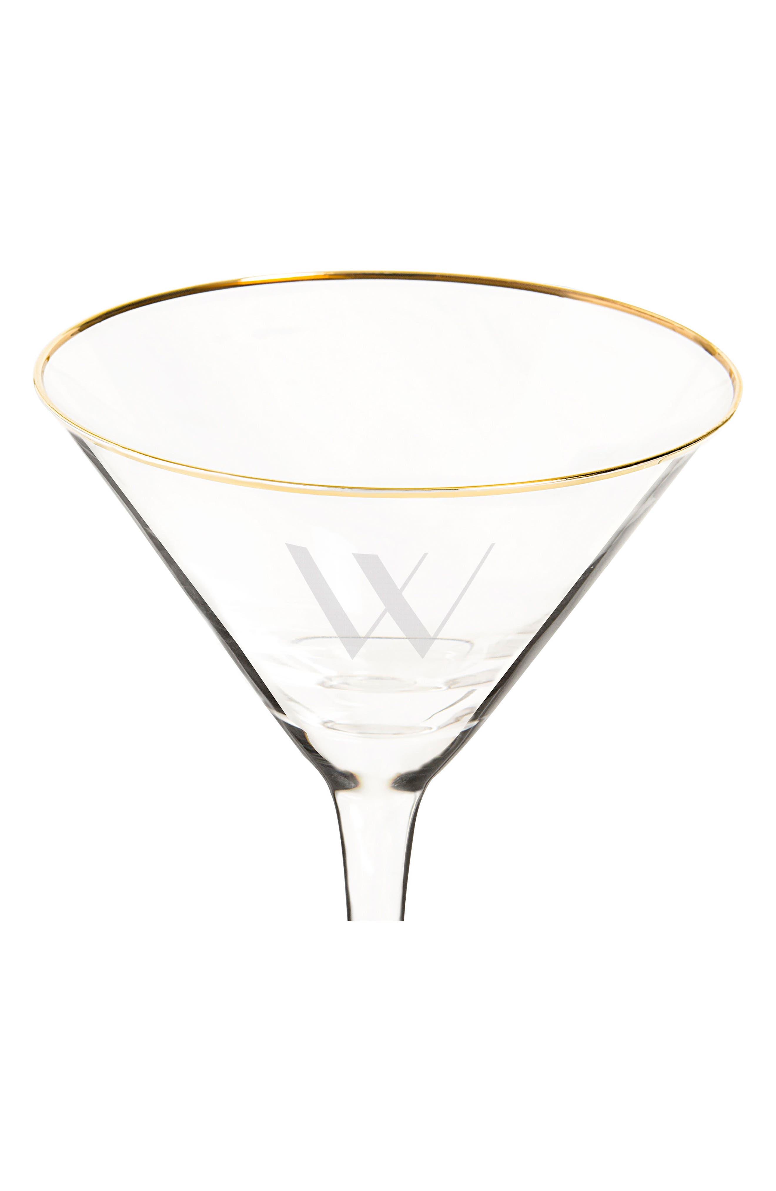 Monogram Martini Glasses & Goldtone Cocktail Shaker,                             Alternate thumbnail 4, color,