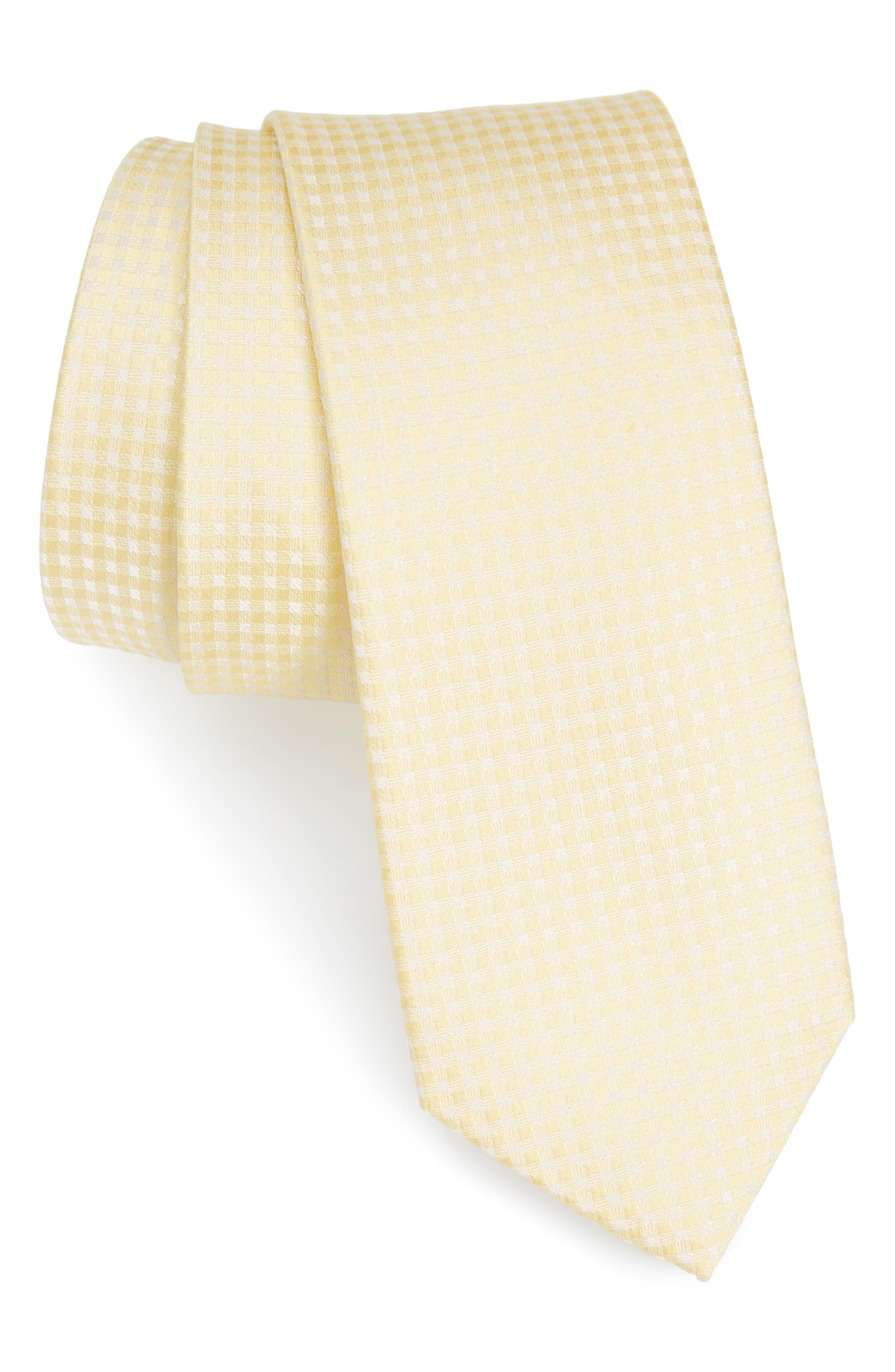 Check Silk Tie,                             Main thumbnail 1, color,                             Butter