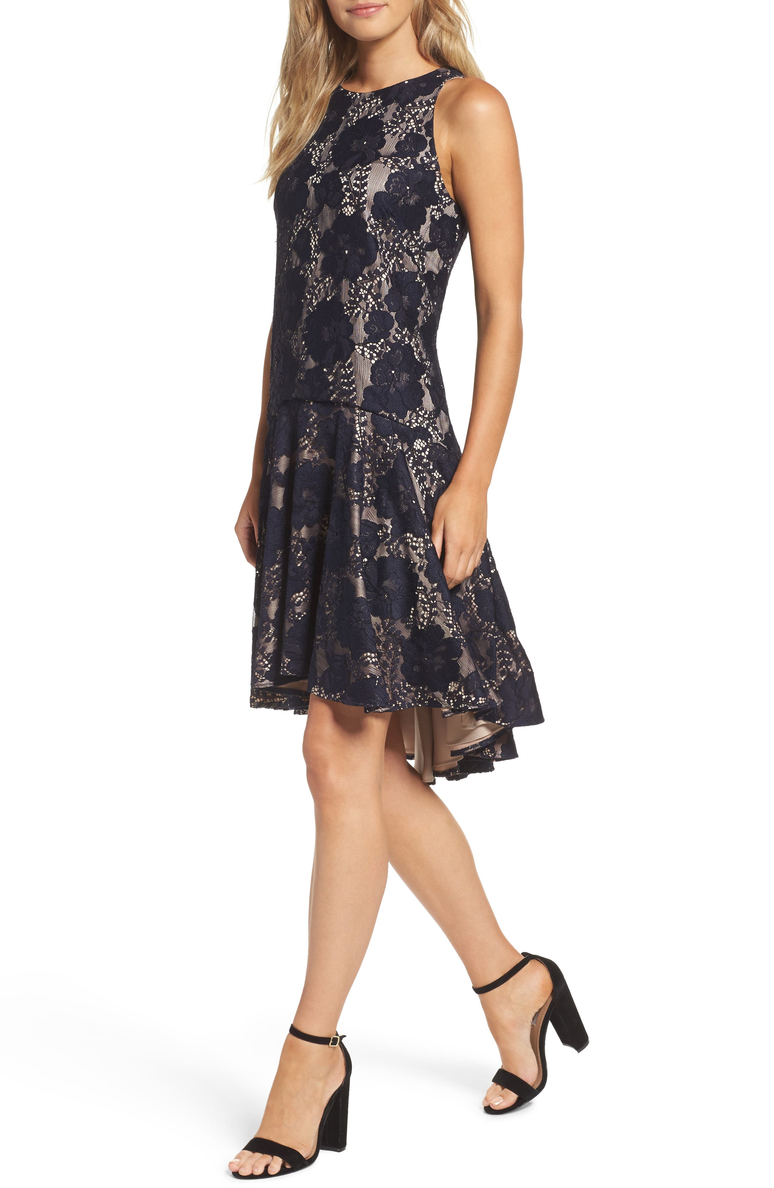 Alternate Image 5  - Eliza J Sleeveless Lace Drop Waist High/Low Dress