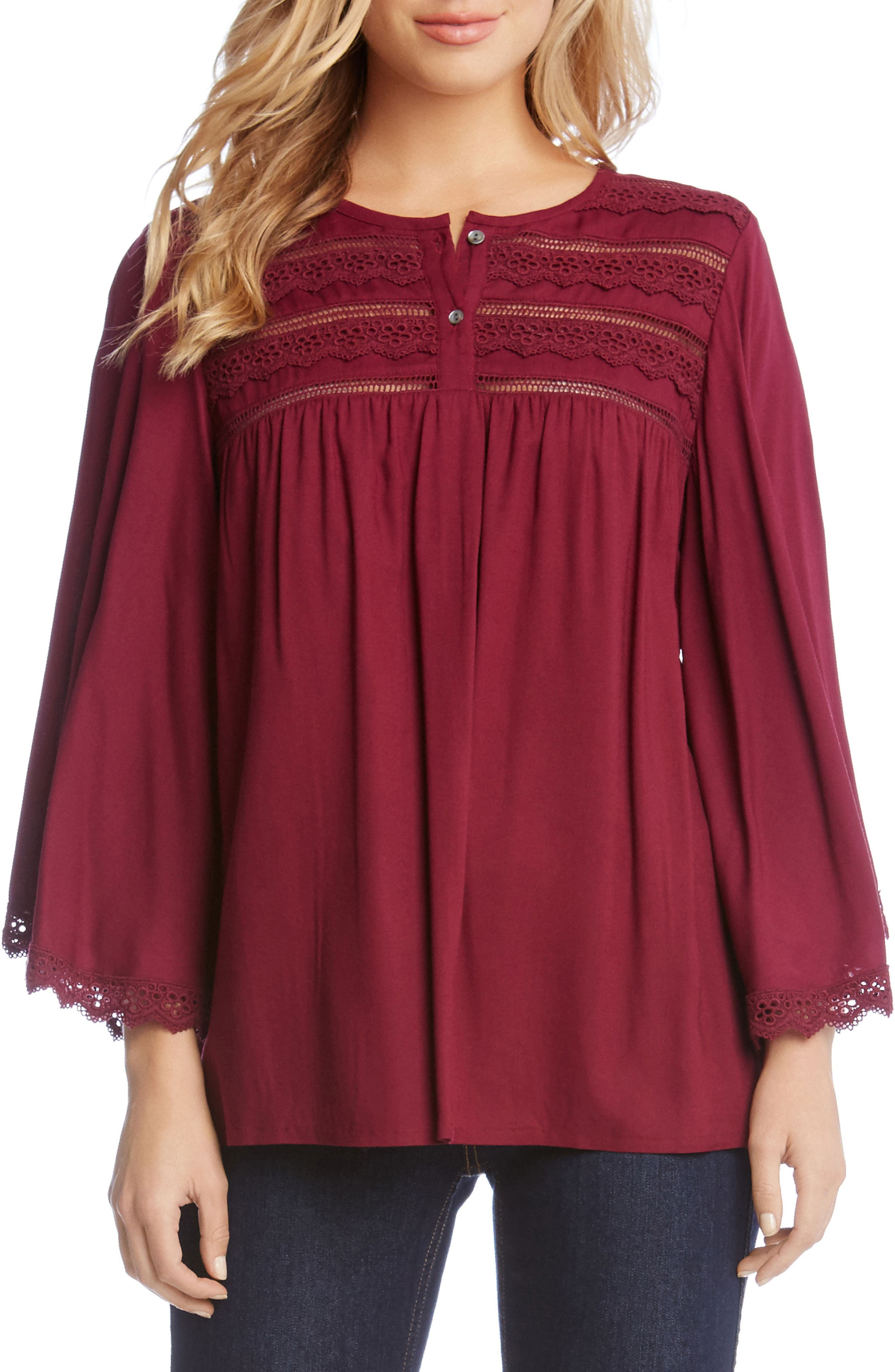 Lace Trim Flare Sleeve Top,                         Main,                         color, Berry