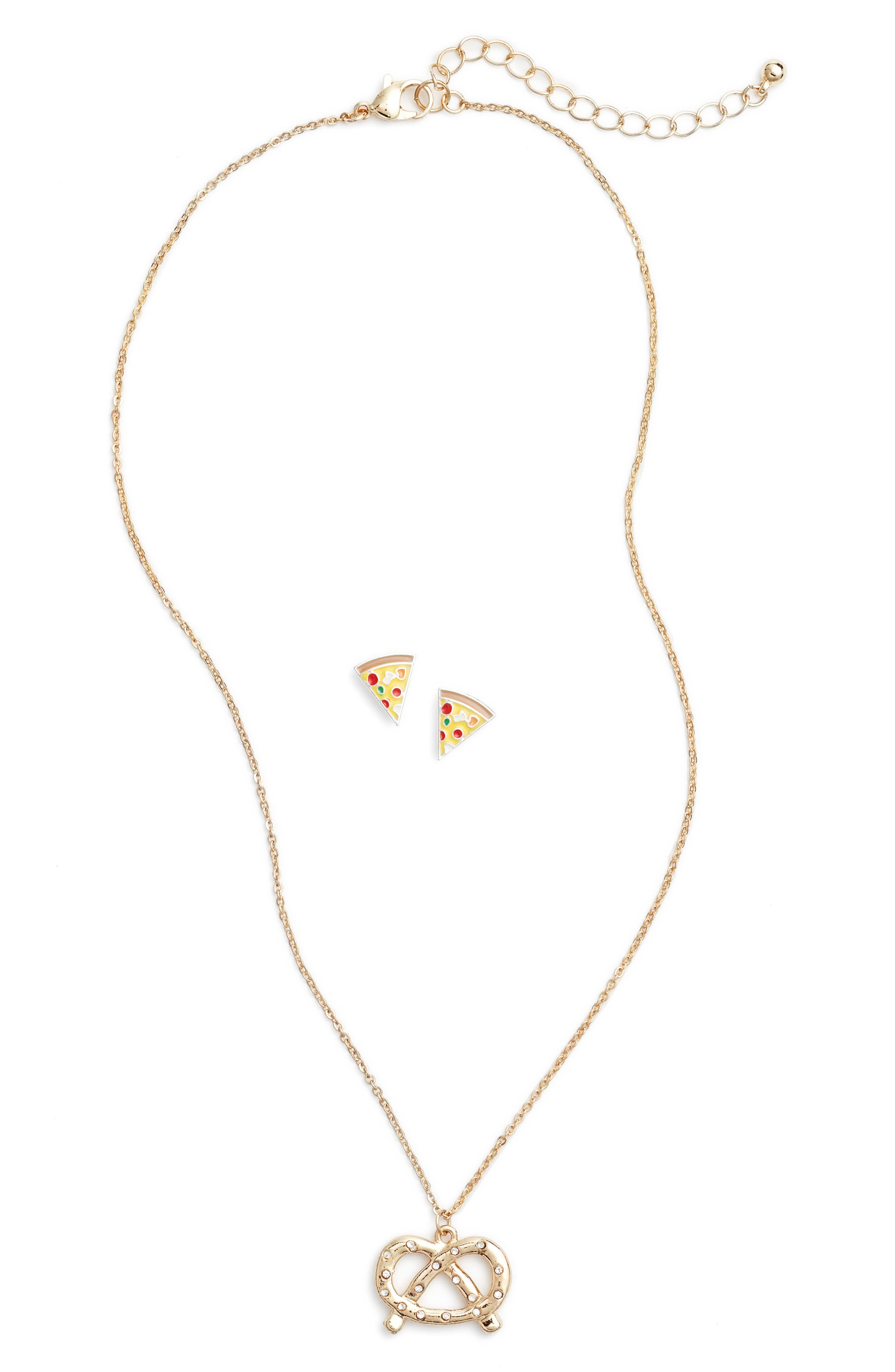 Main Image - Capelli New York Pug Love Pendant Necklace & Earrings Set (Girls)