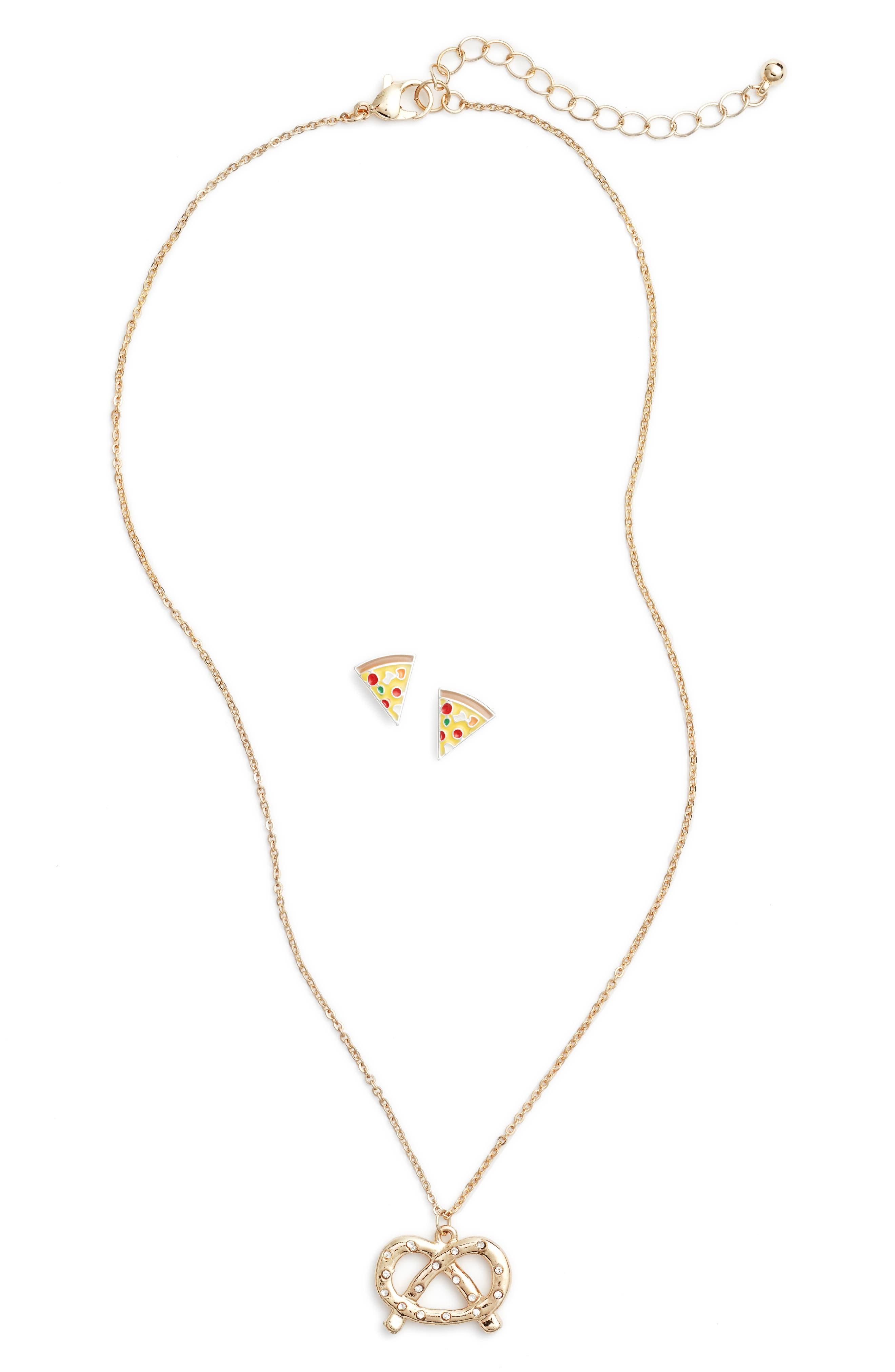 Capelli New York Pug Love Pendant Necklace & Earrings Set (Girls)