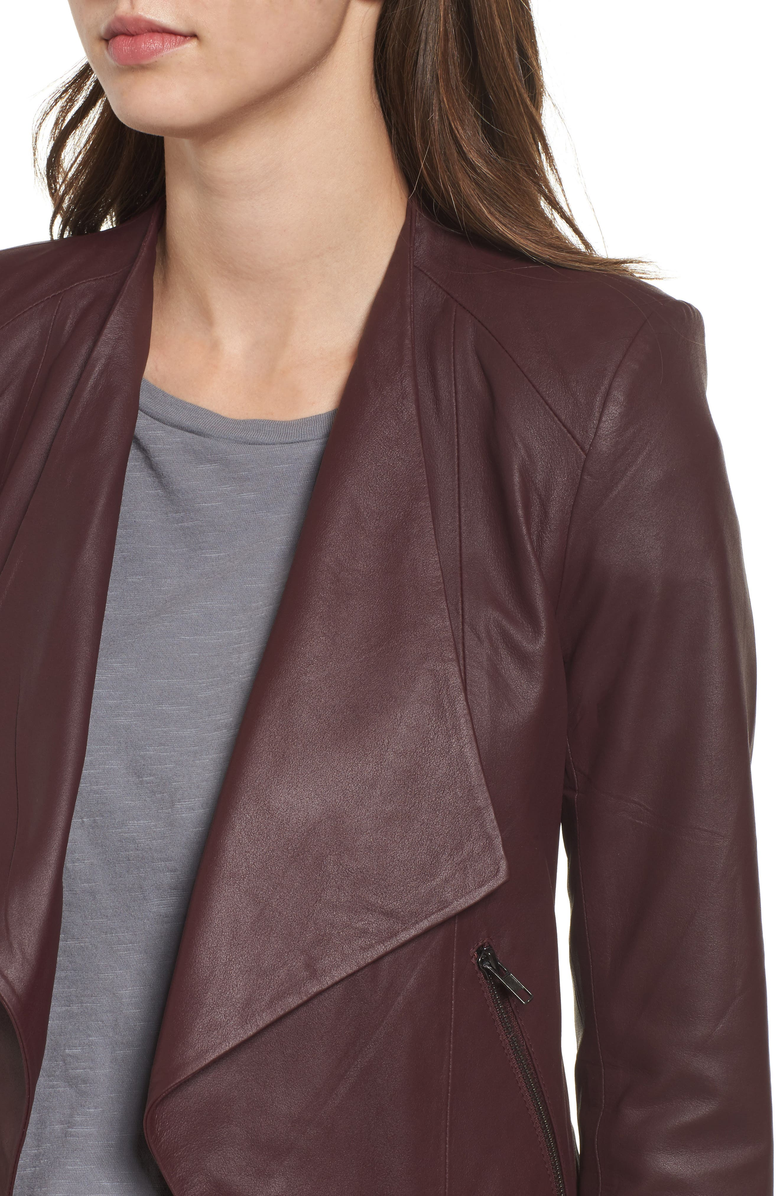 Brycen Leather Drape Front Jacket,                             Alternate thumbnail 4, color,                             Fig