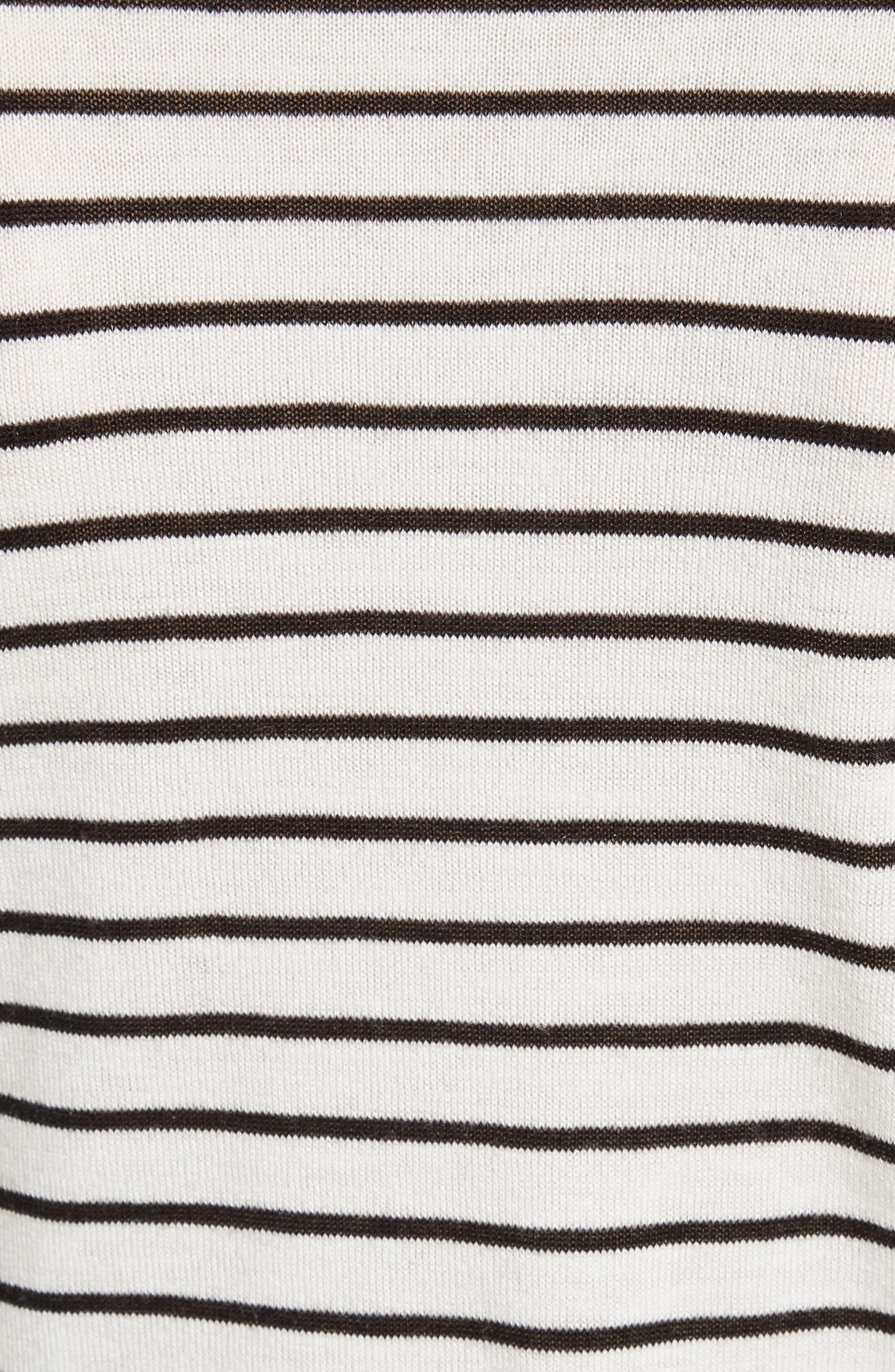 Stripe Silk Blend Sweater,                             Alternate thumbnail 5, color,                             Chalk/ Black