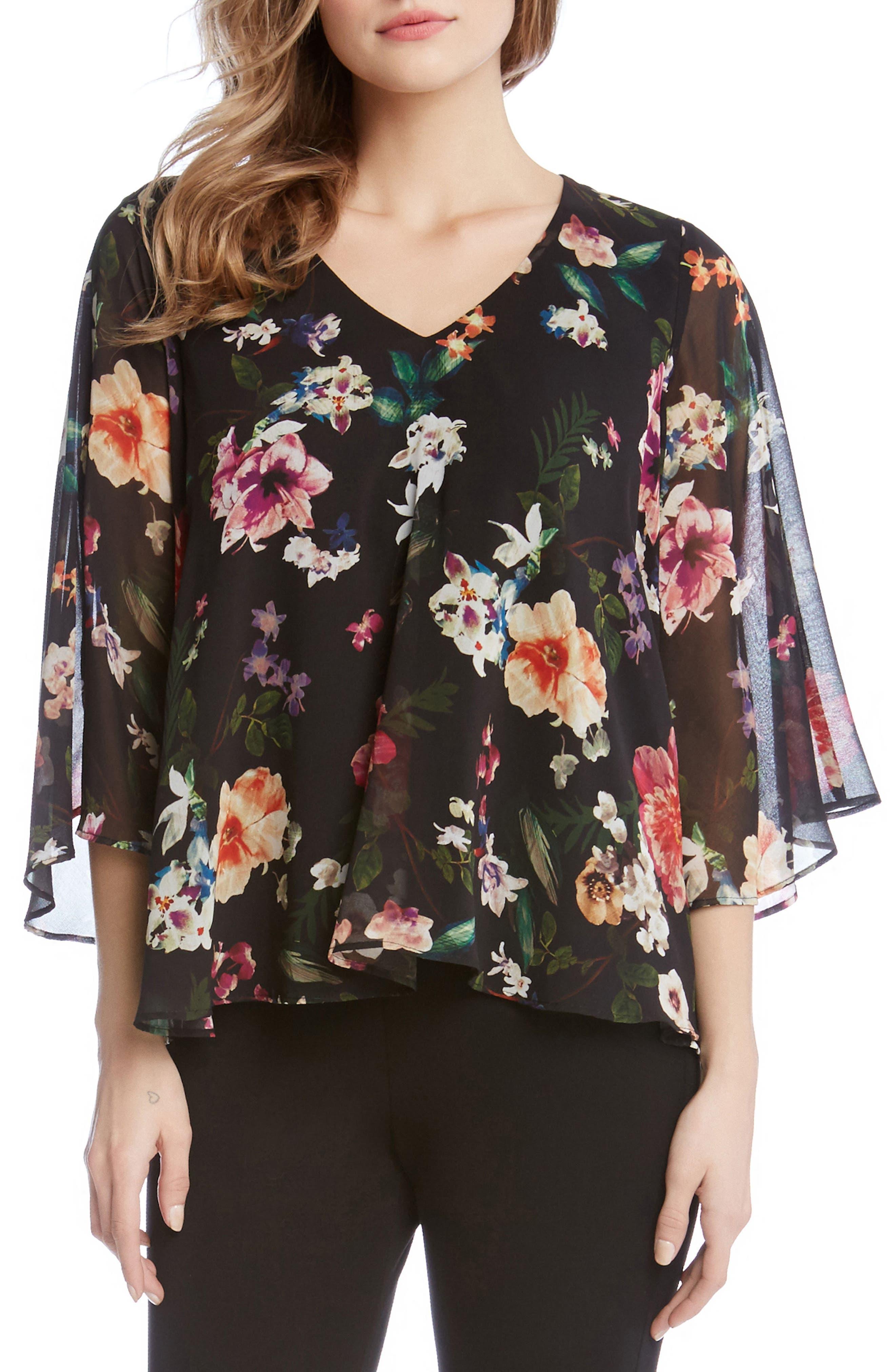 Floral Poncho Top,                         Main,                         color, Print