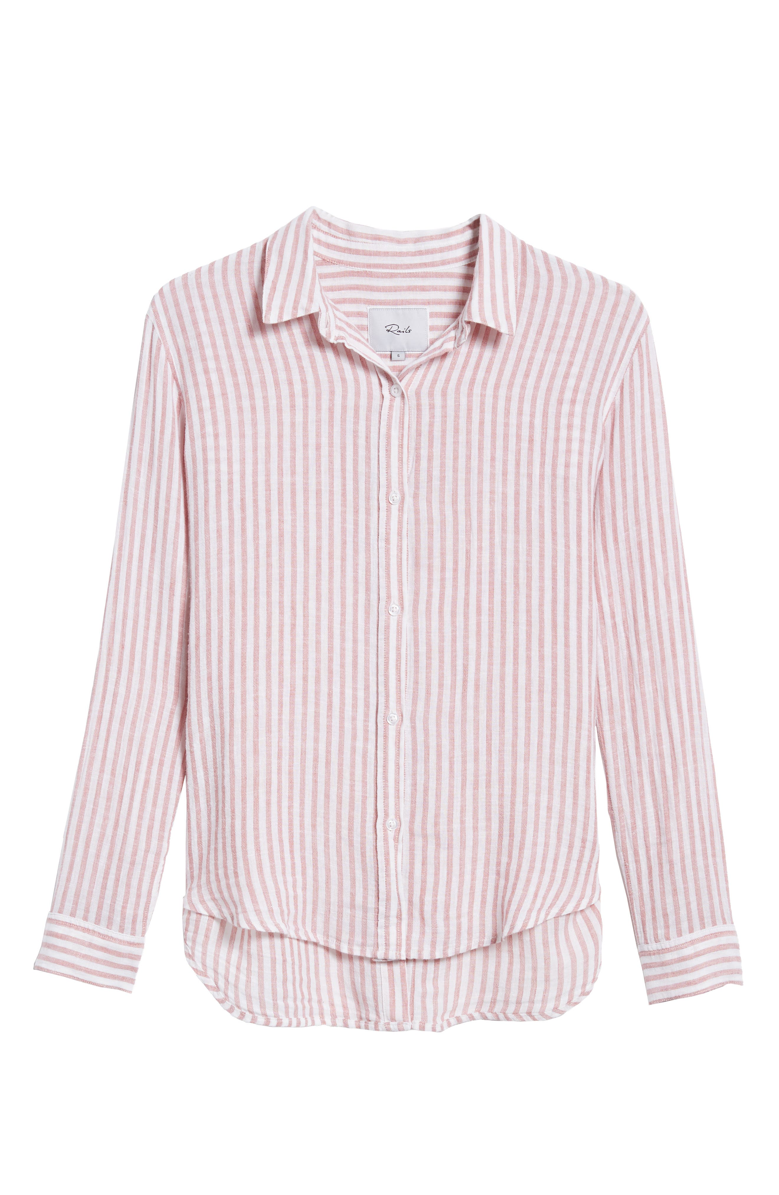 Sydney Stripe Linen Blend Shirt,                             Alternate thumbnail 6, color,                             Florence Stripe