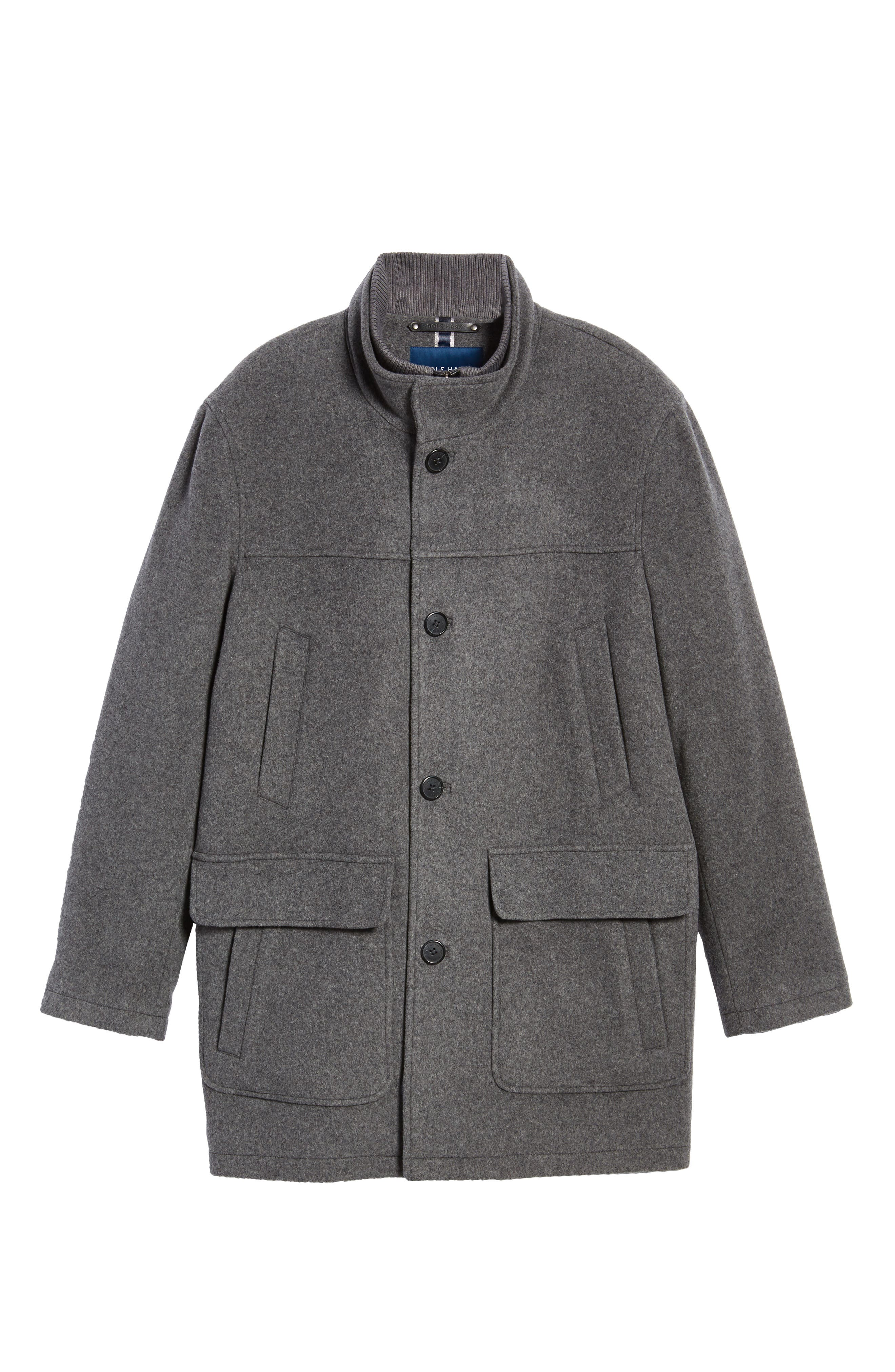 Wool Blend Topcoat with Inset Bib,                             Alternate thumbnail 6, color,                             Light Grey