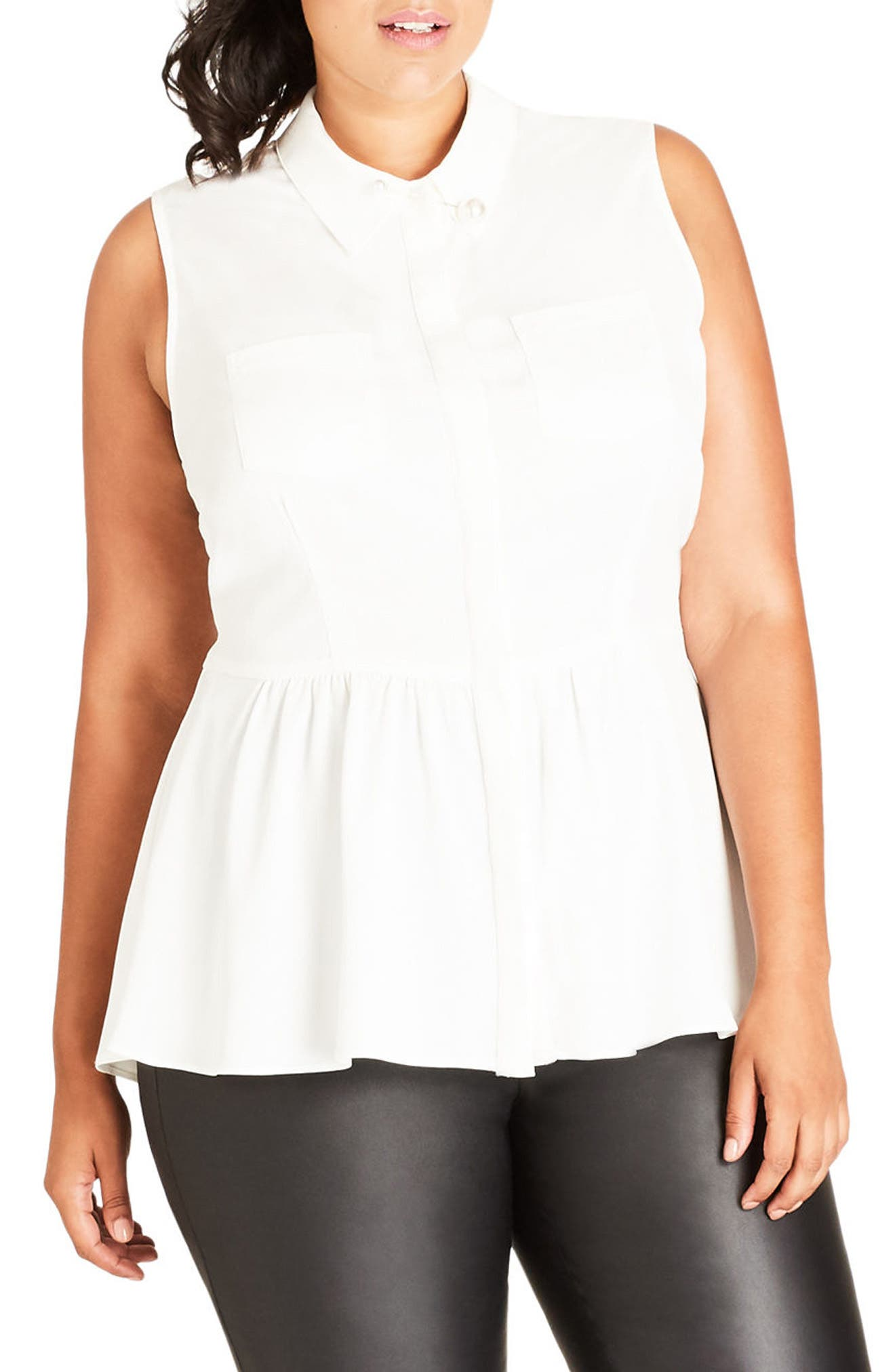 Alternate Image 1 Selected - City Chic High/Low Ruffle Tank (Plus Size)