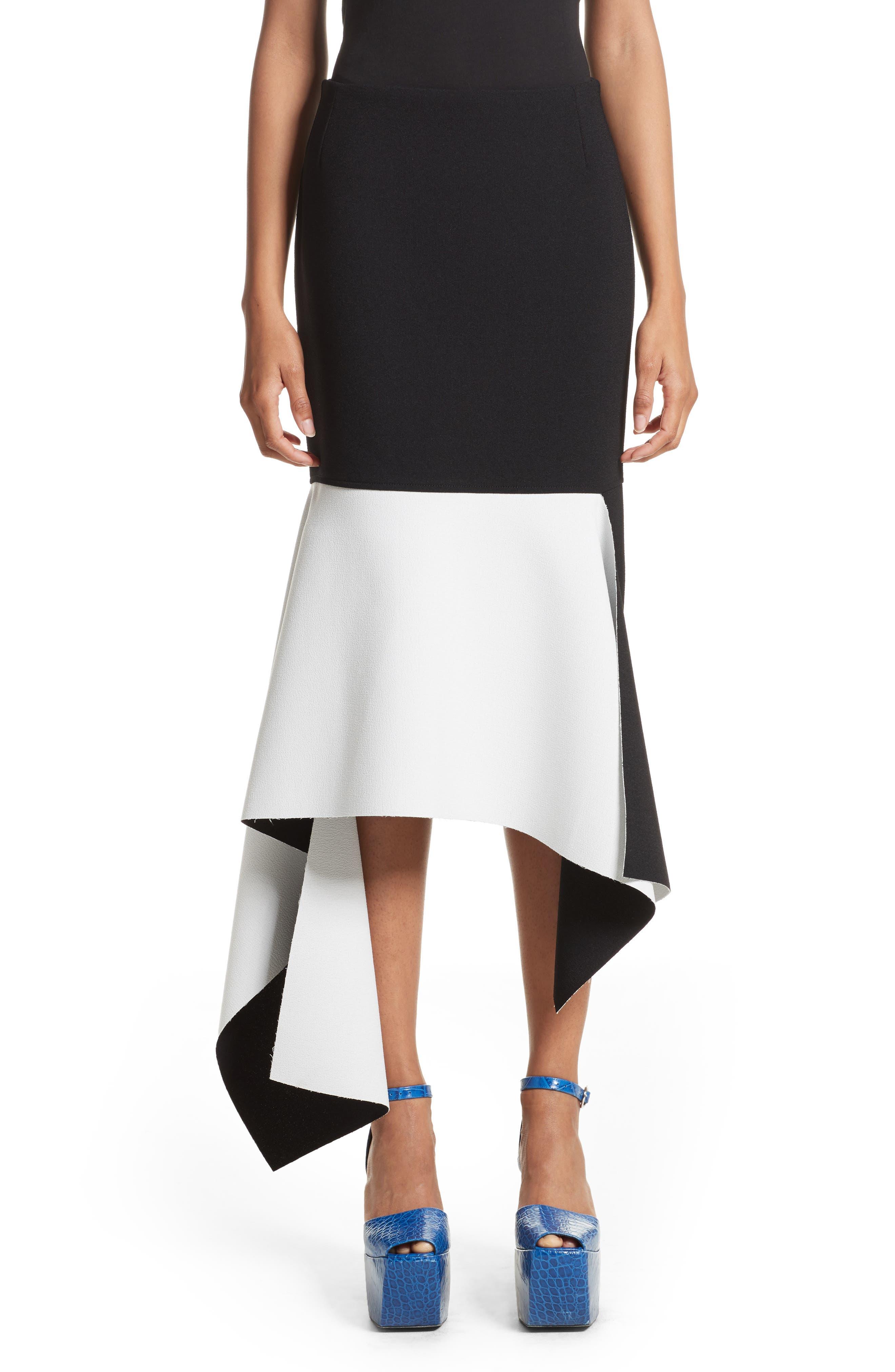 Marques'Almeida Asymmetrical Bicolor Crepe Skirt,                         Main,                         color, Black/White