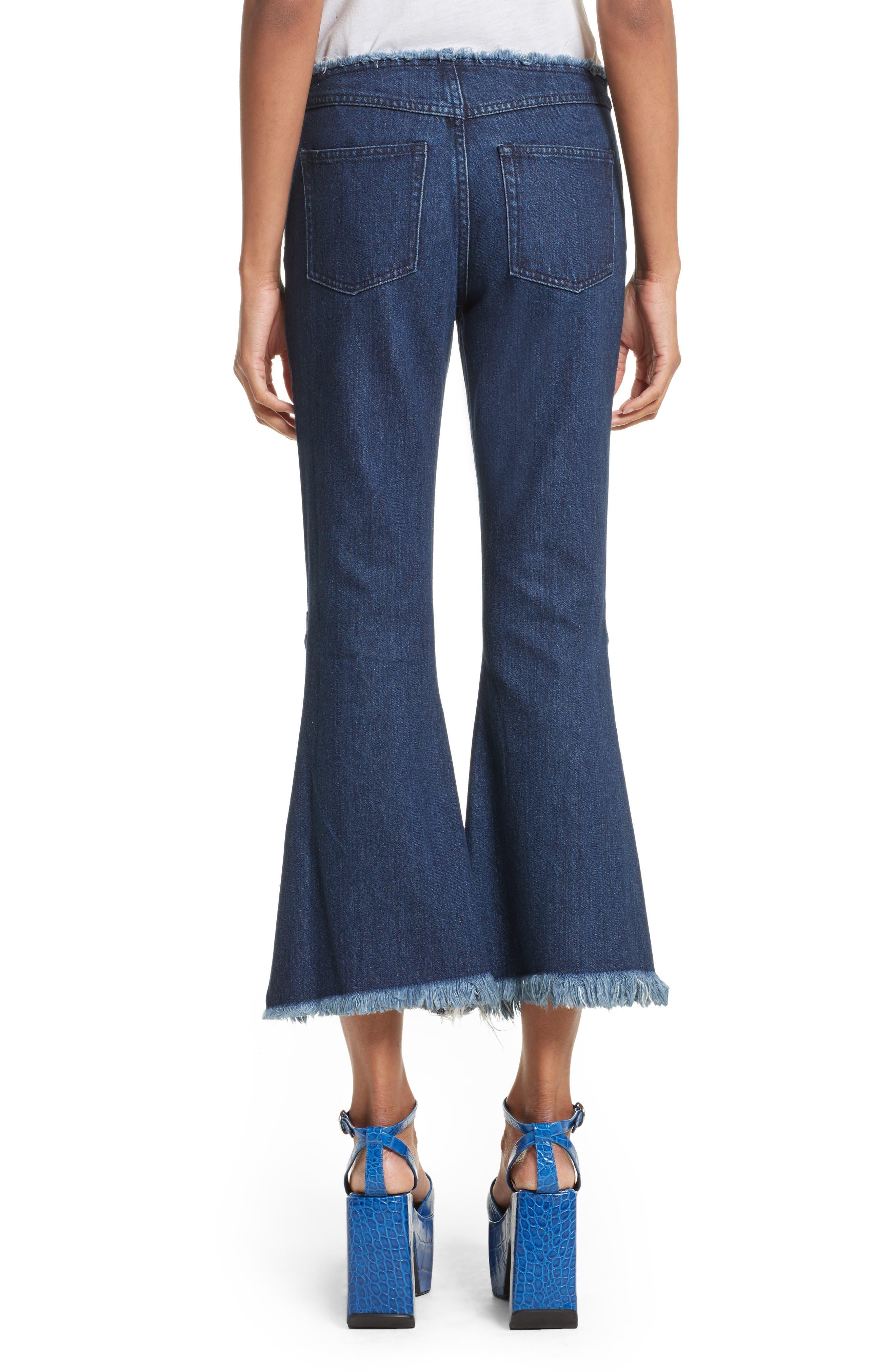 Marques'Almeida Button Trim Crop Flare Jeans,                             Alternate thumbnail 2, color,                             Indigo