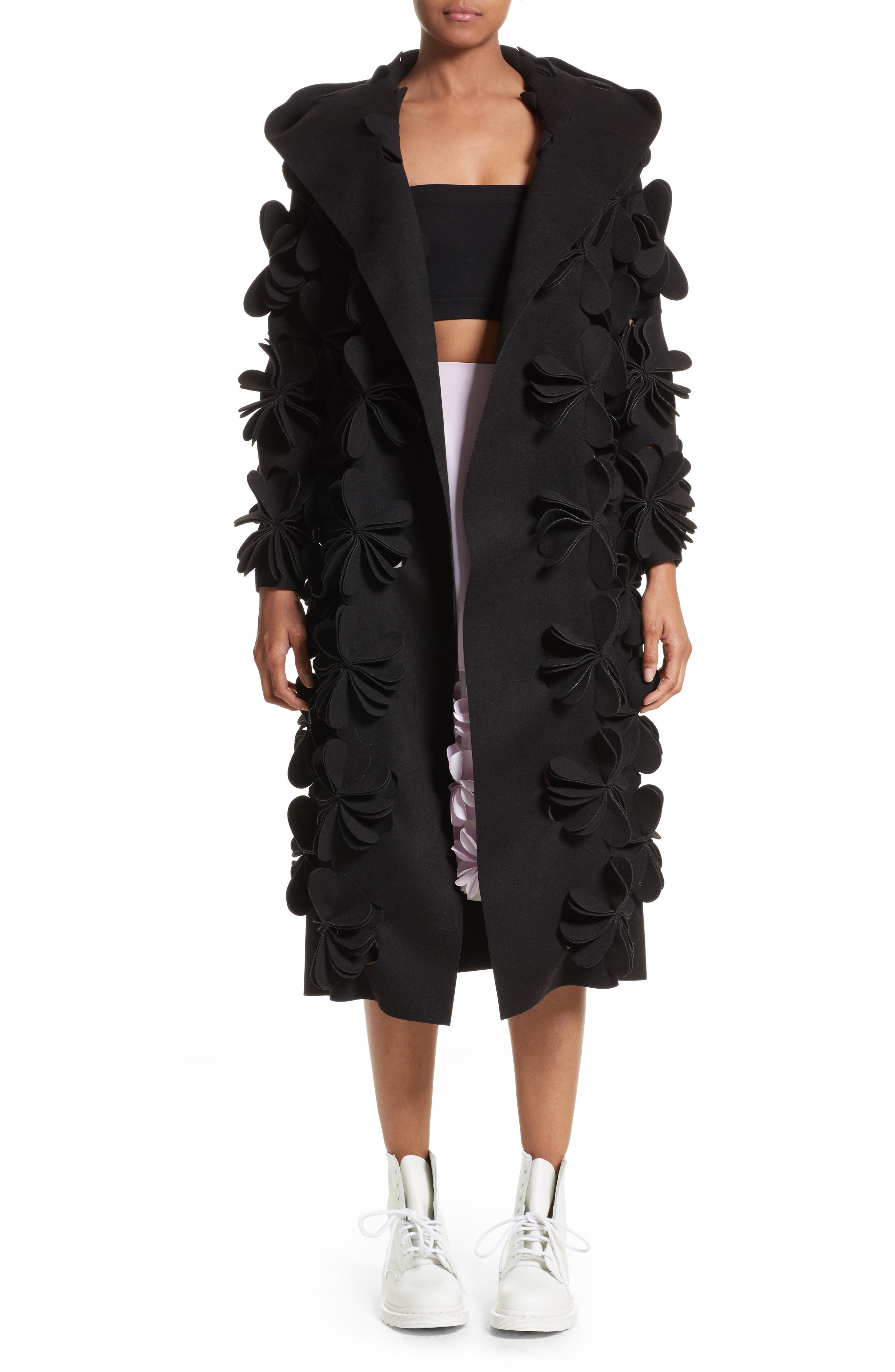 Floral Appliqué Hooded Coat,                         Main,                         color, Black