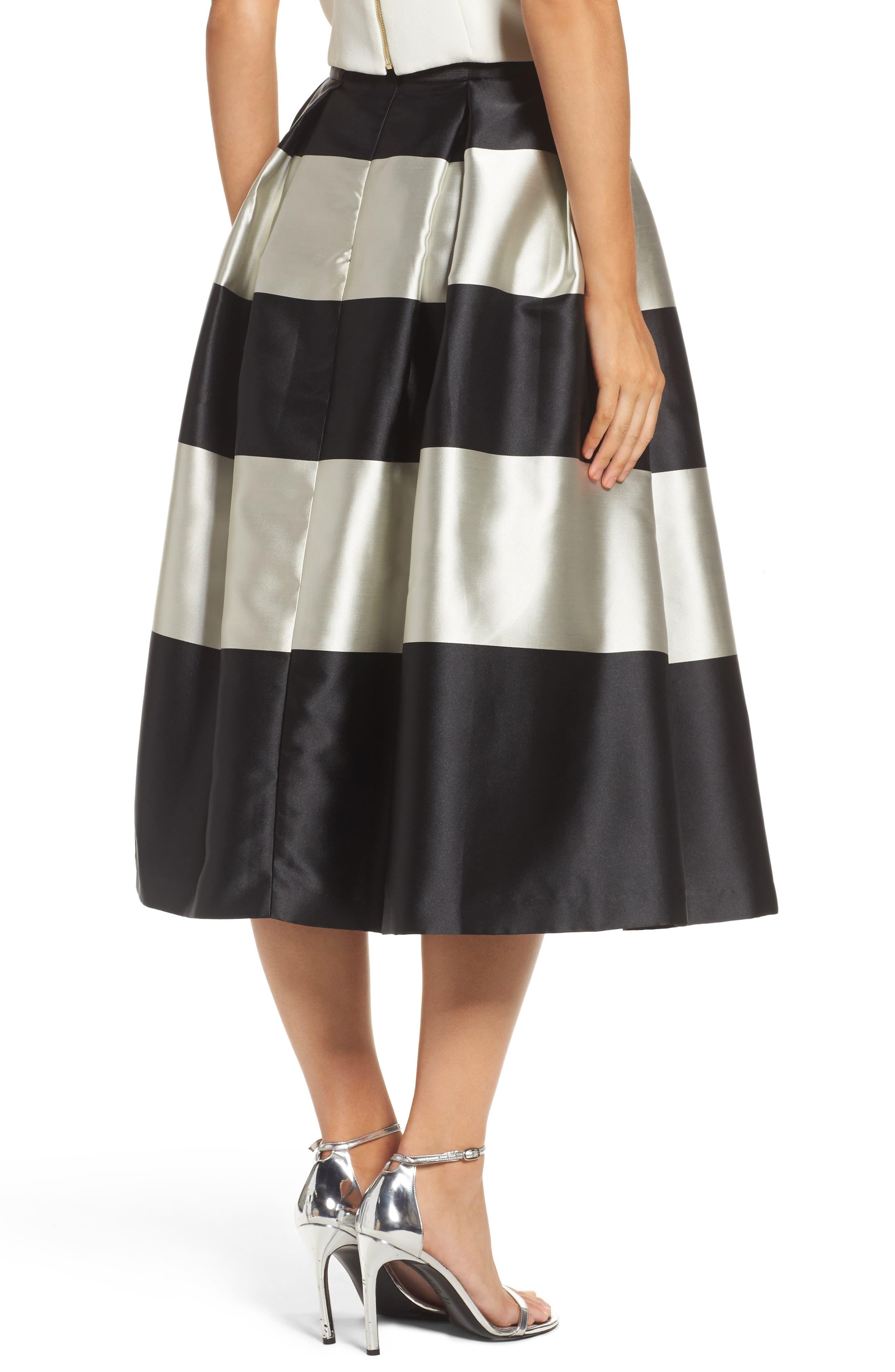 Stripe Pleated Midi Skirt,                             Alternate thumbnail 2, color,                             Black/ Ivory
