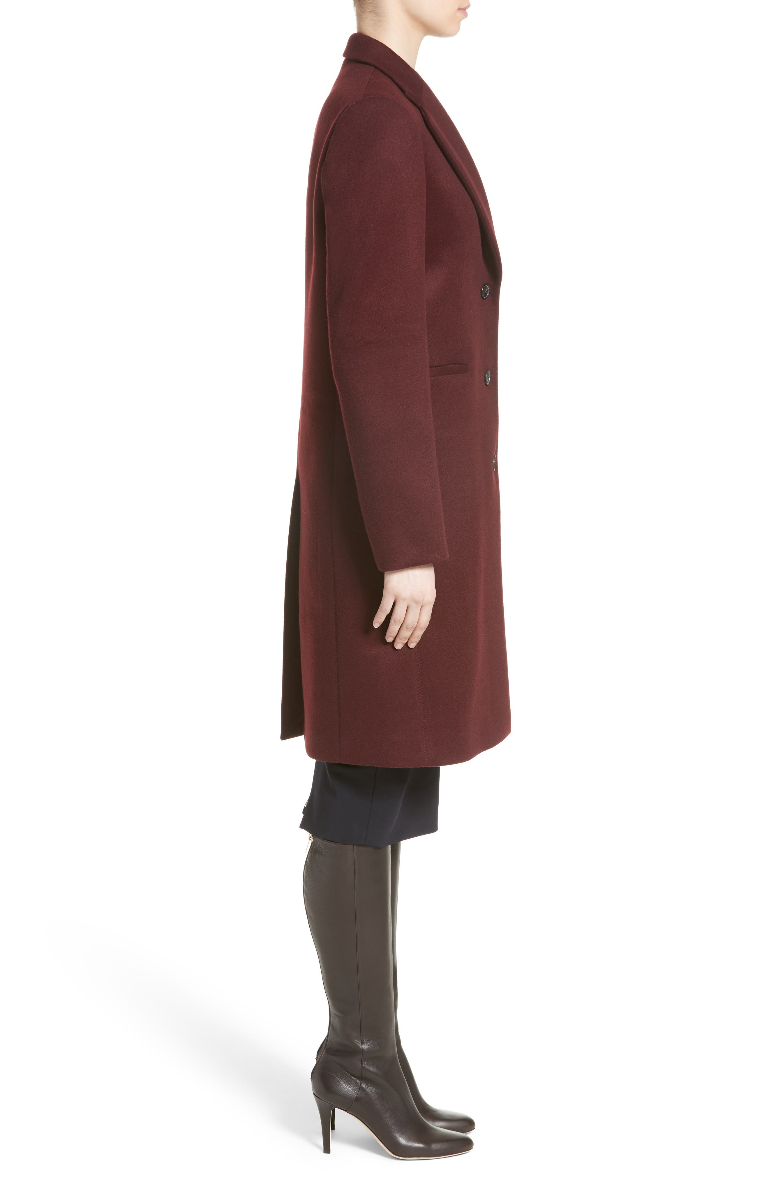 Bonded Felt Coat,                             Alternate thumbnail 3, color,                             Wine-Raspberry