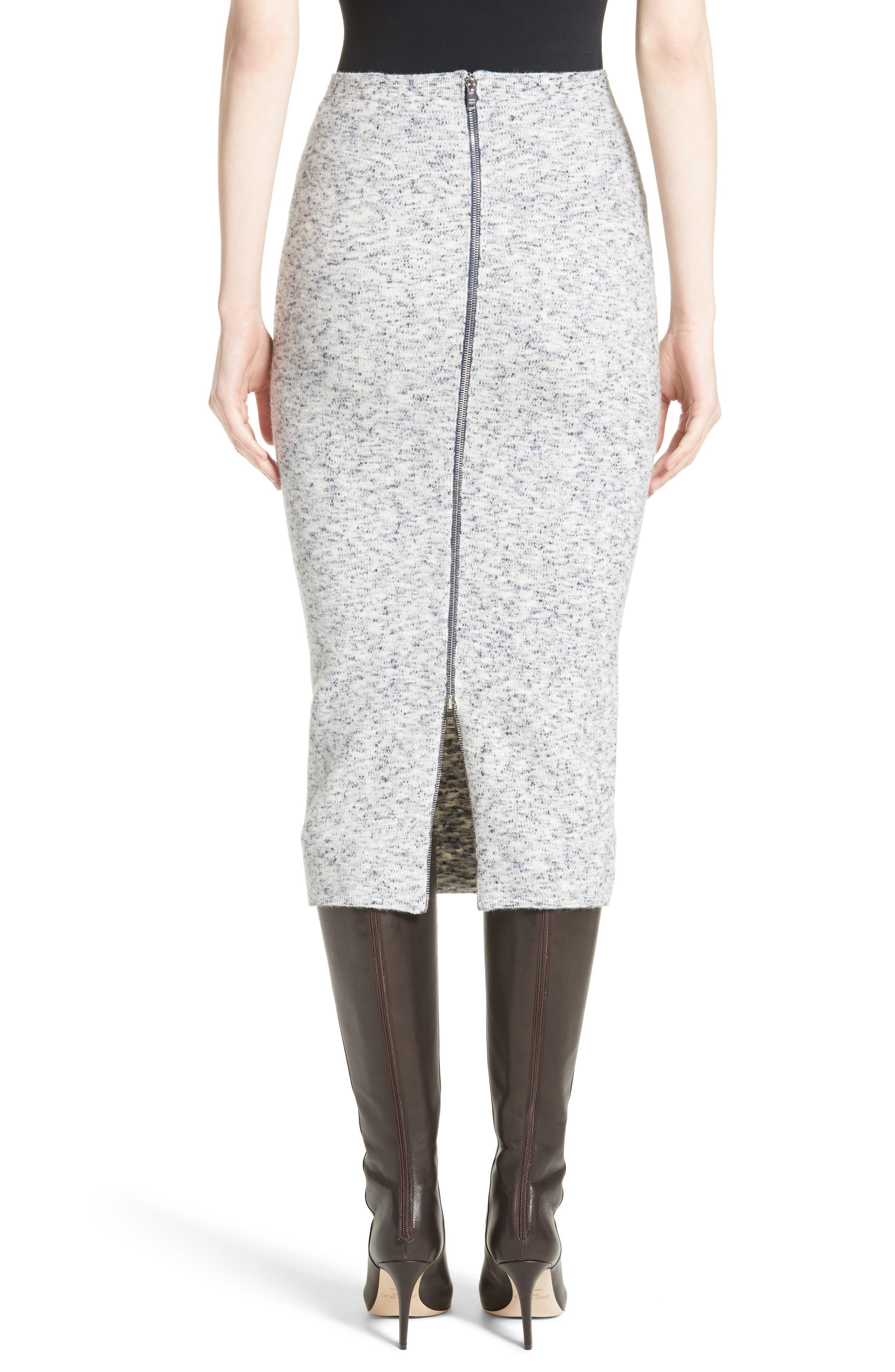 Mélange Felt Skirt,                             Alternate thumbnail 2, color,                             Multi Navy
