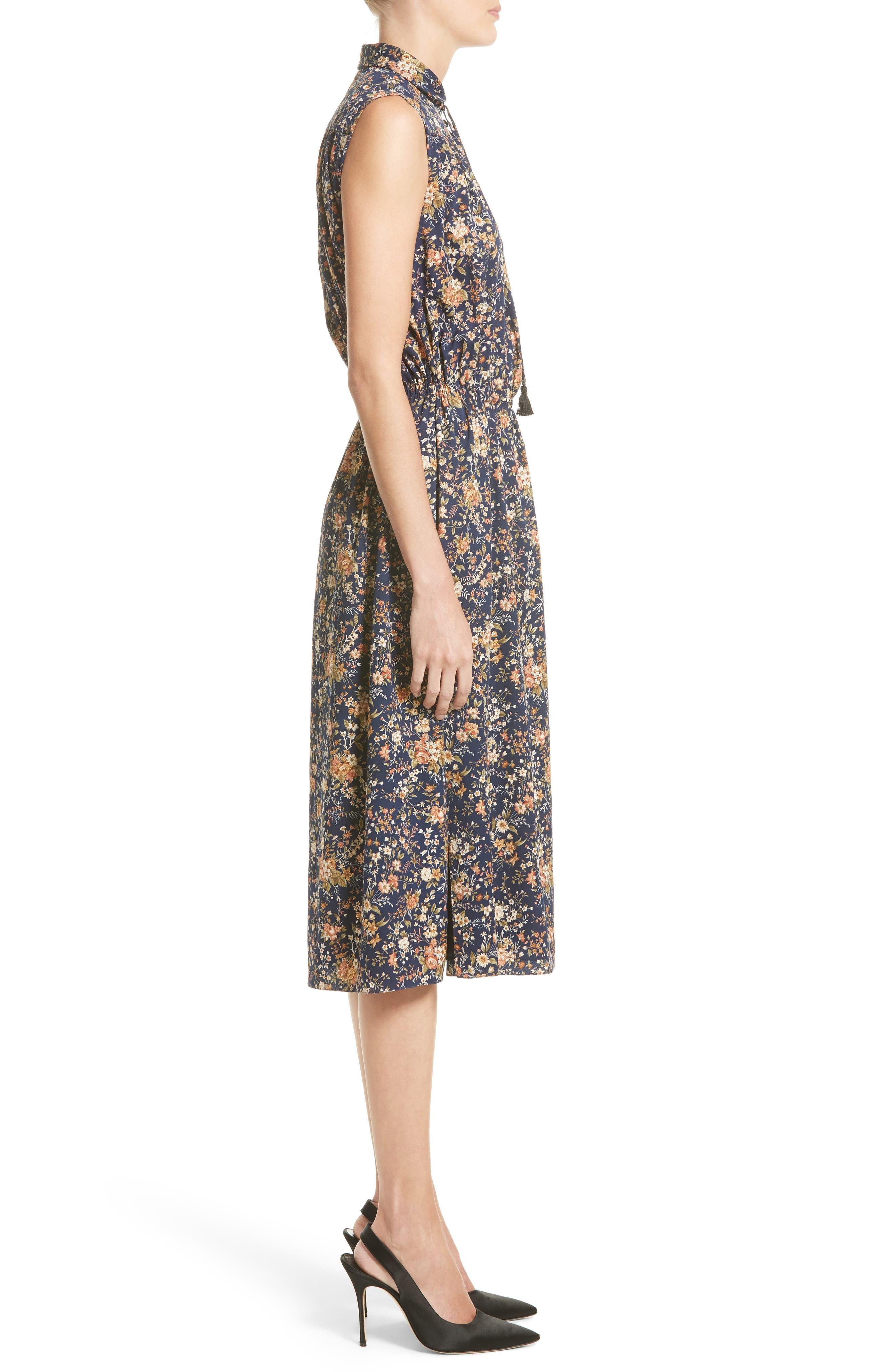 Floral Print Silk Dress,                             Alternate thumbnail 3, color,                             Navy