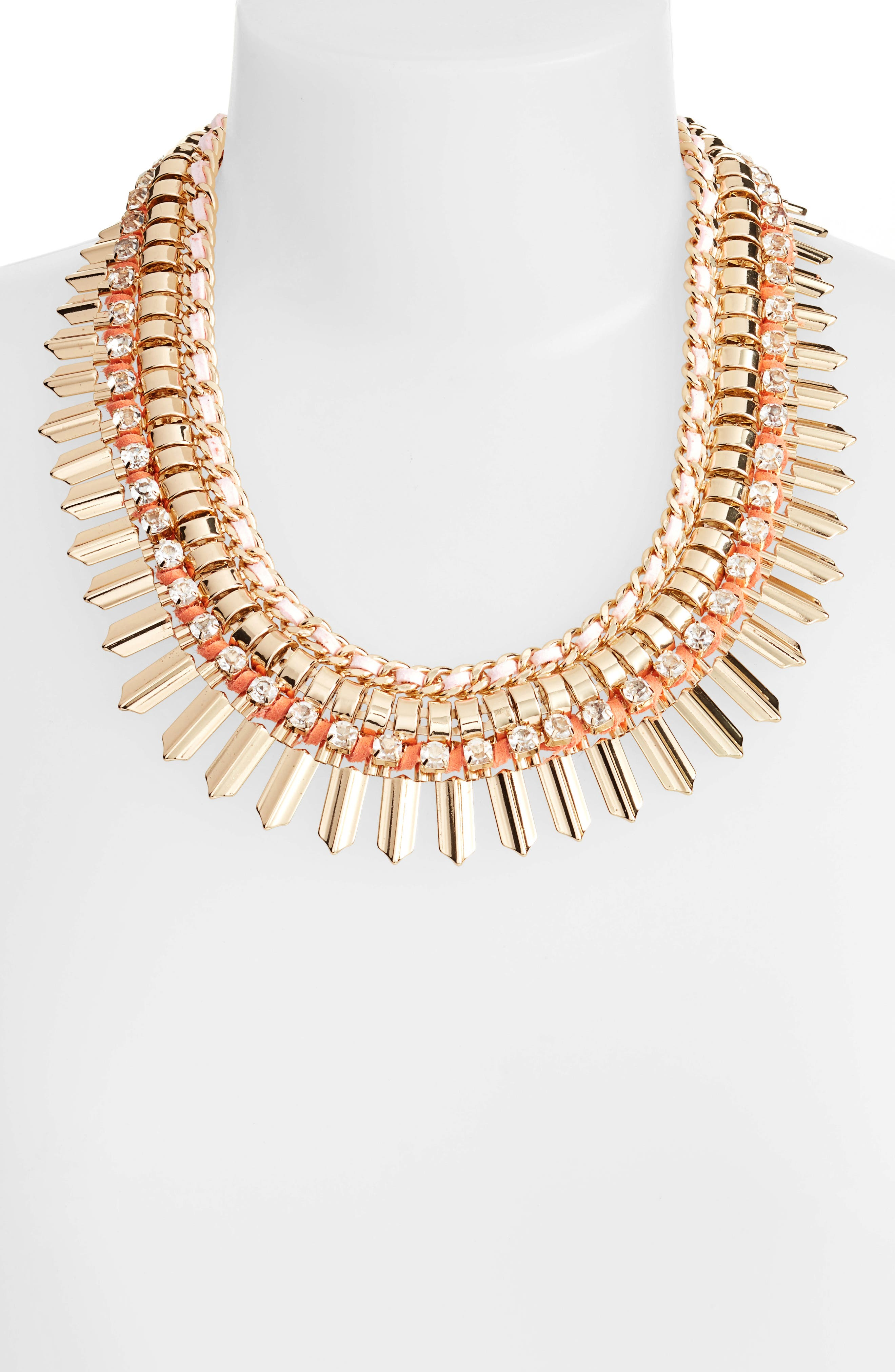 Crystal & Suede Statement Necklace,                             Alternate thumbnail 2, color,                             Pink