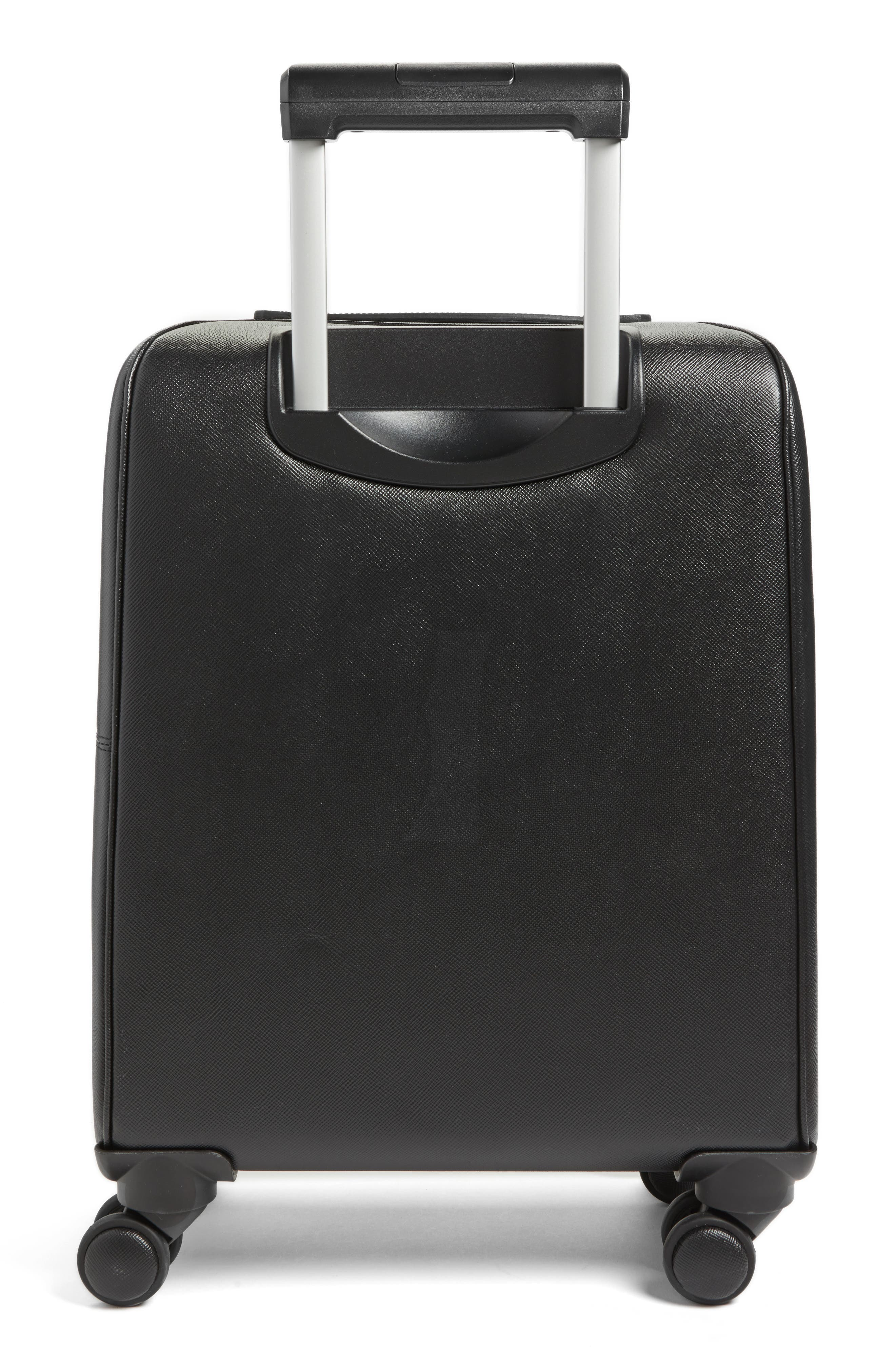 Trolley Spinner Wheeled Carry-On Suitcase,                             Alternate thumbnail 3, color,                             Black