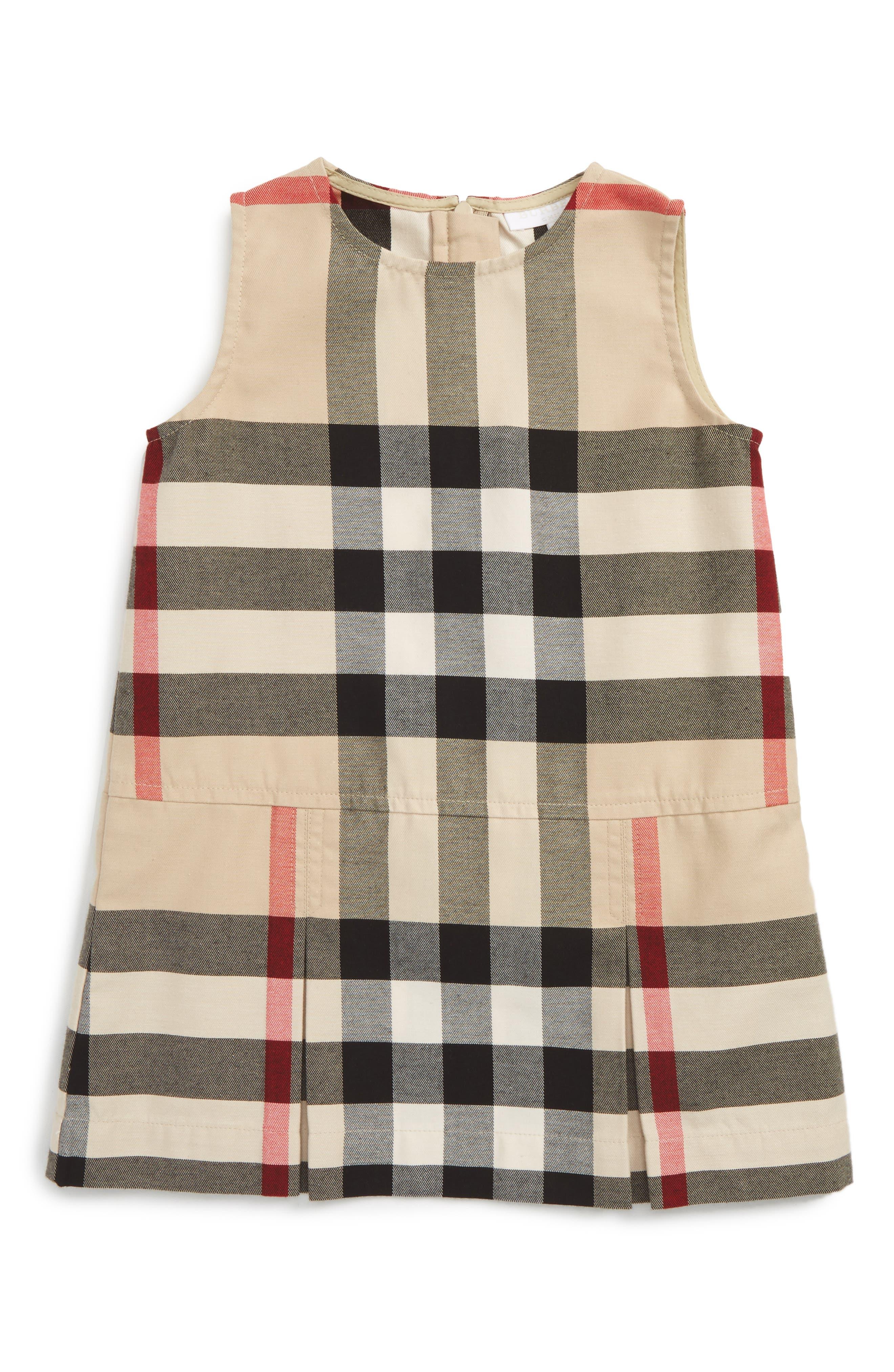 Main Image - Burberry Dawny Check Print Sleeveless Dress (Baby Girls)