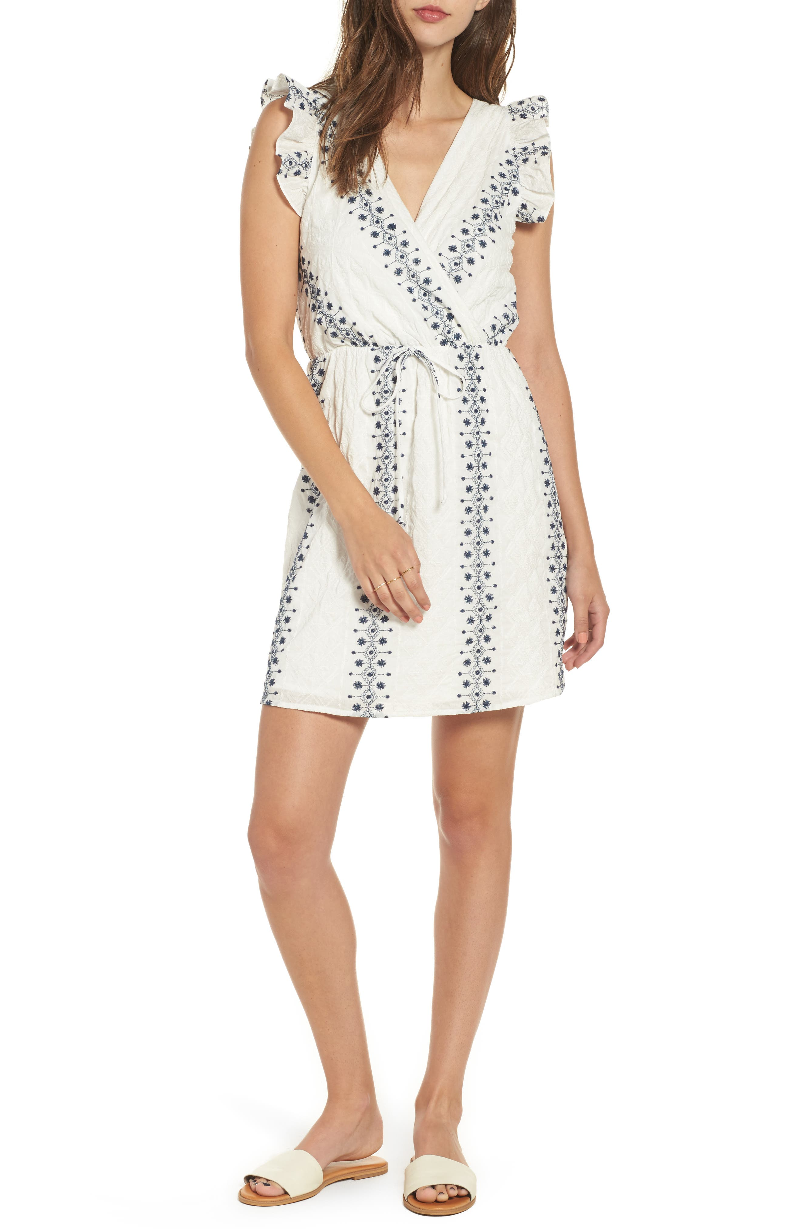 EVERLY Embroidered Wrap Dress