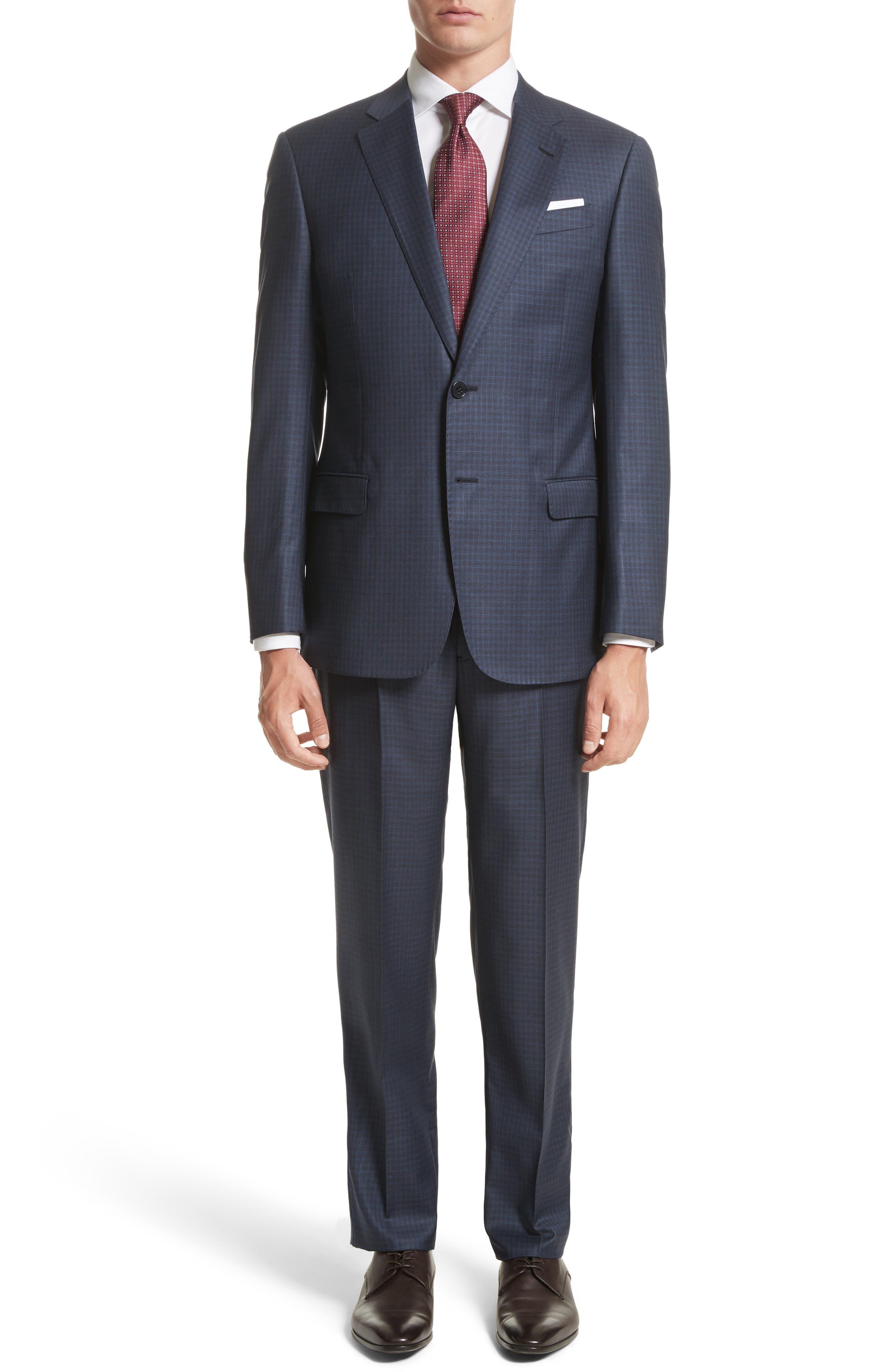 Armani Collezioni G-Line Trim Fit Check Wool Suit