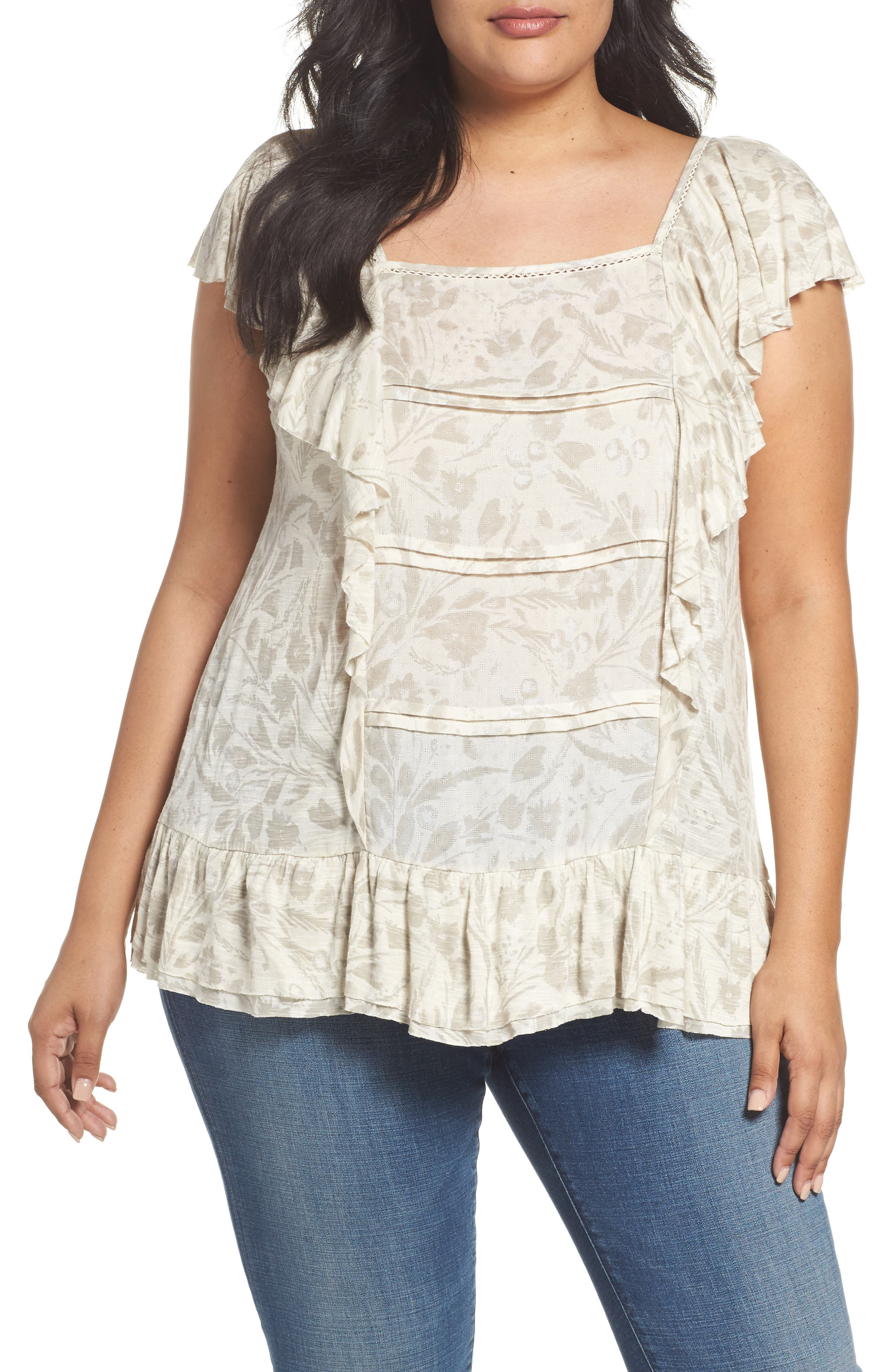 Lucky Brand Knit & Woven Ruffle Top (Plus Size)