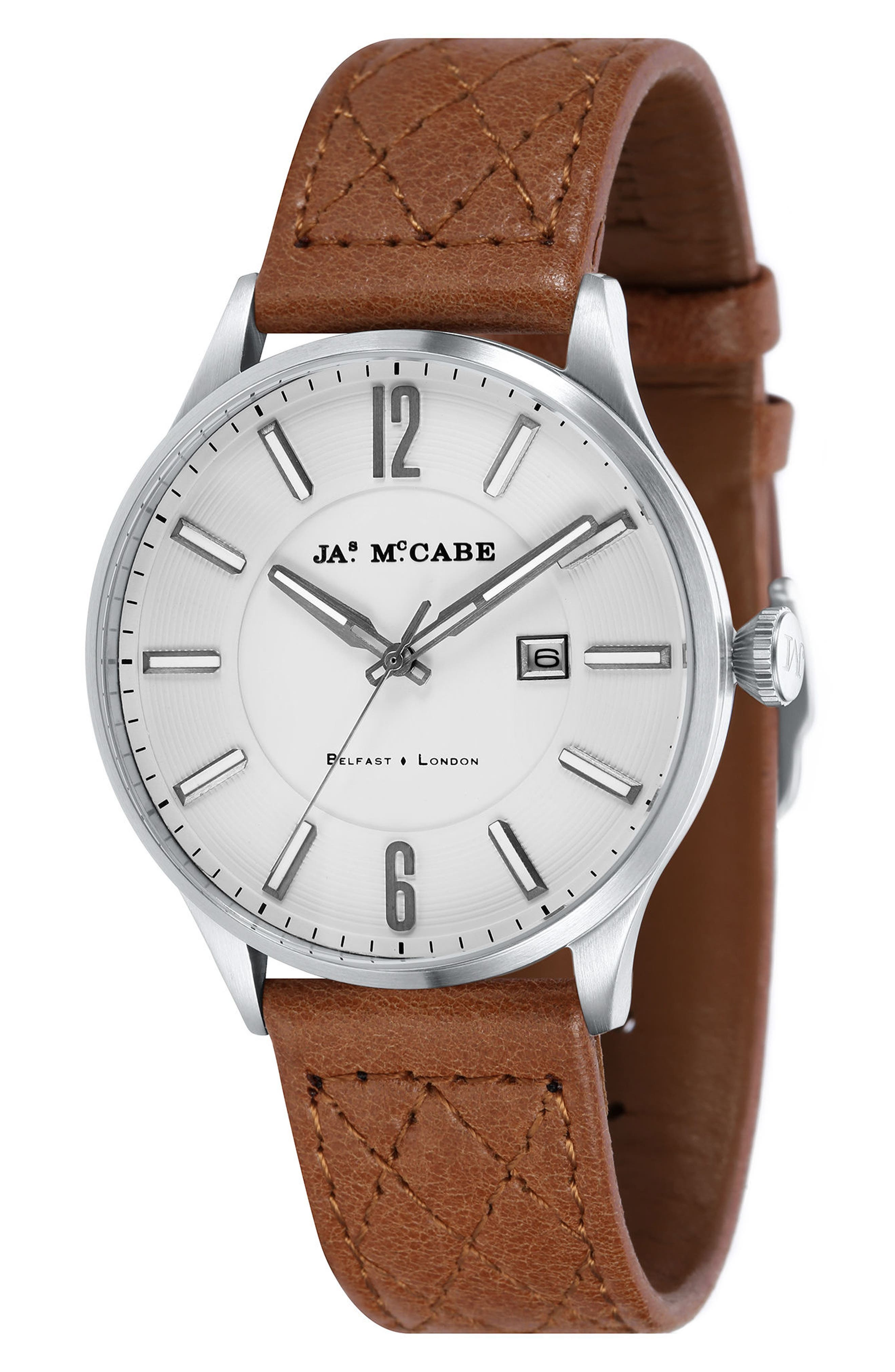London Slim Leather Strap Watch, 43mm,                         Main,                         color, Silver White/ Dark Brown
