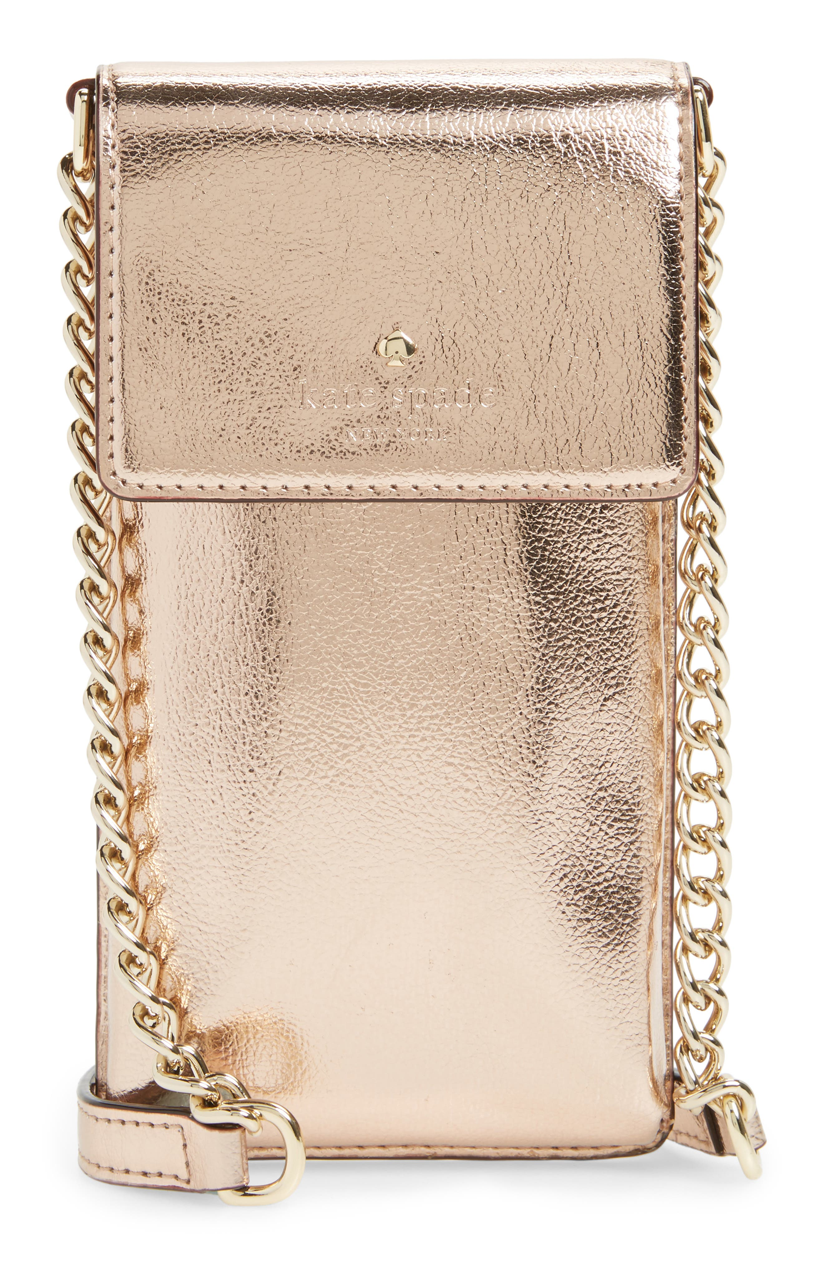 kate spade new york metallic leather smartphone crossbody bag