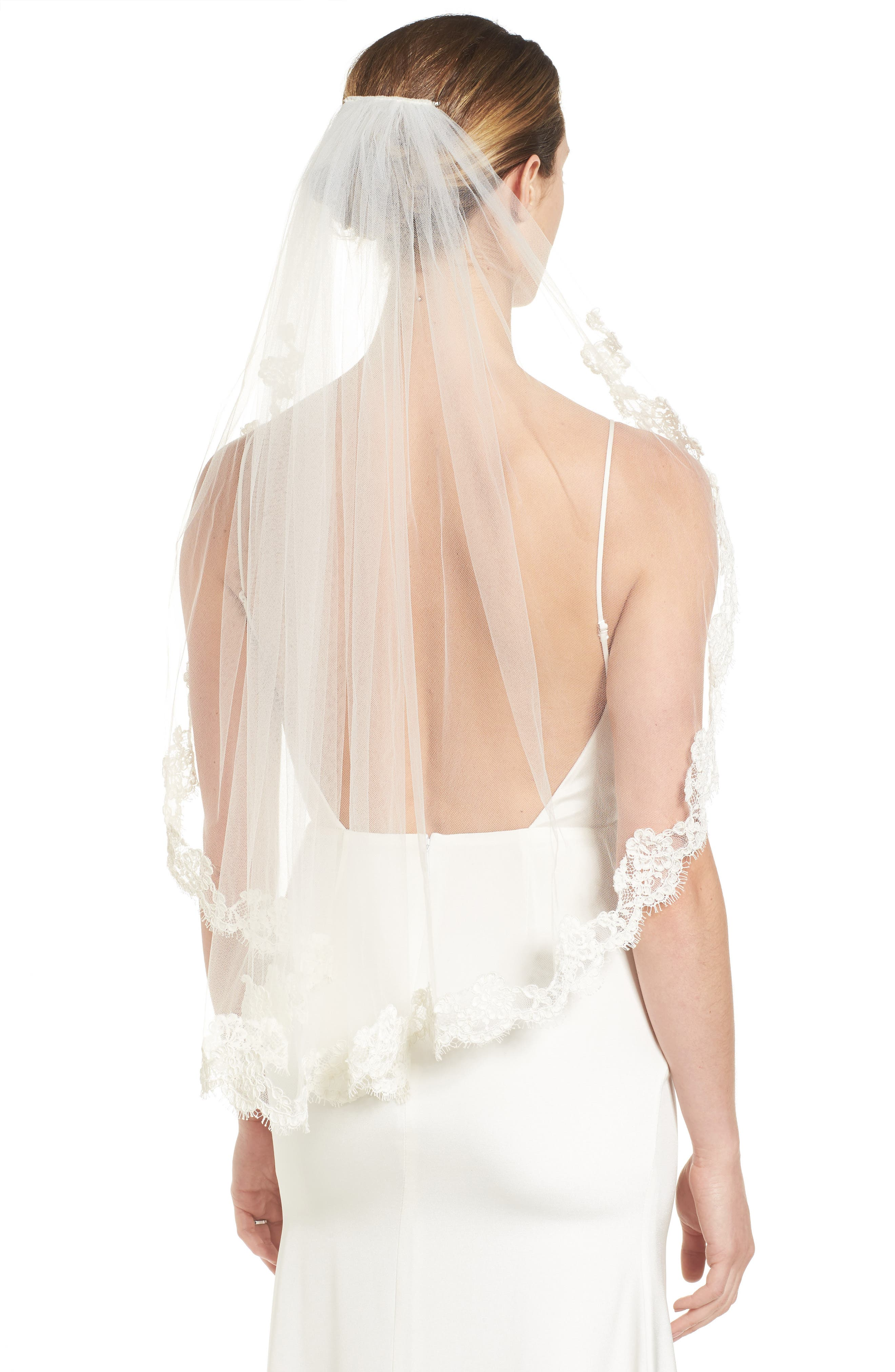 Poppy Lace Bridal Veil,                         Main,                         color, Light Ivory