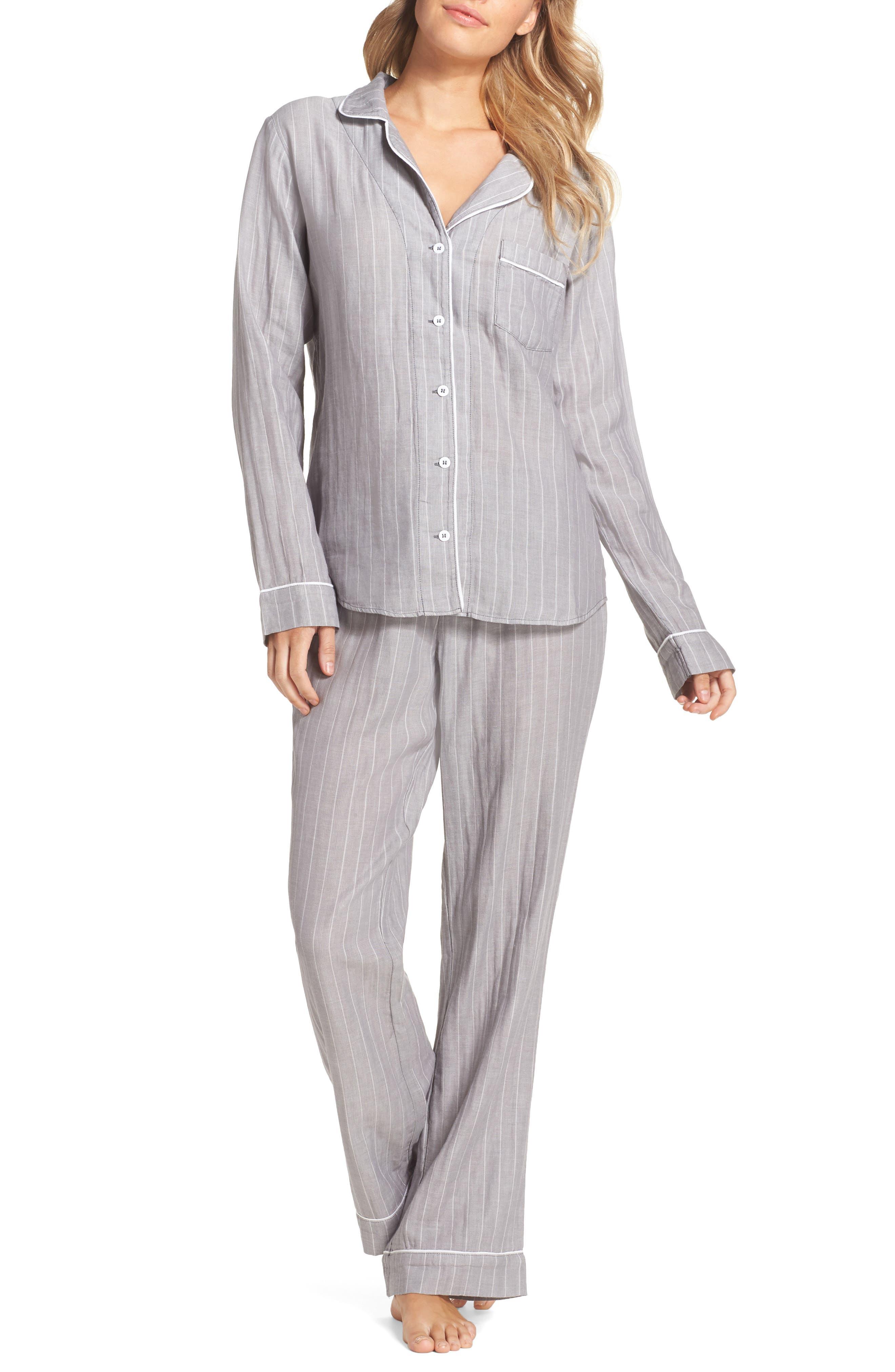 Raven Stripe Pajamas,                             Main thumbnail 1, color,                             Seal