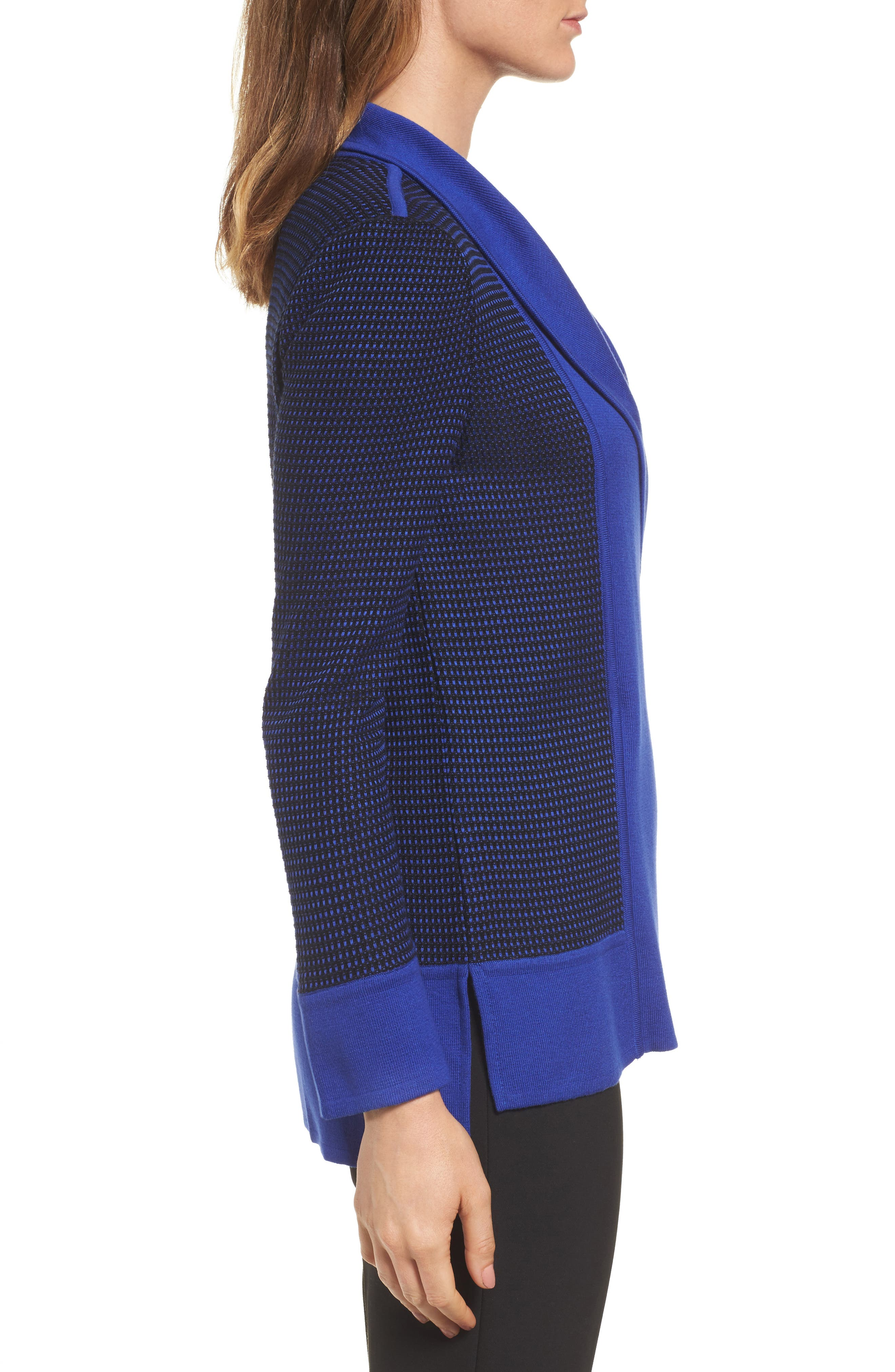 Asymetrical Zip Cardigan,                             Alternate thumbnail 3, color,                             Blue Flame/ Black