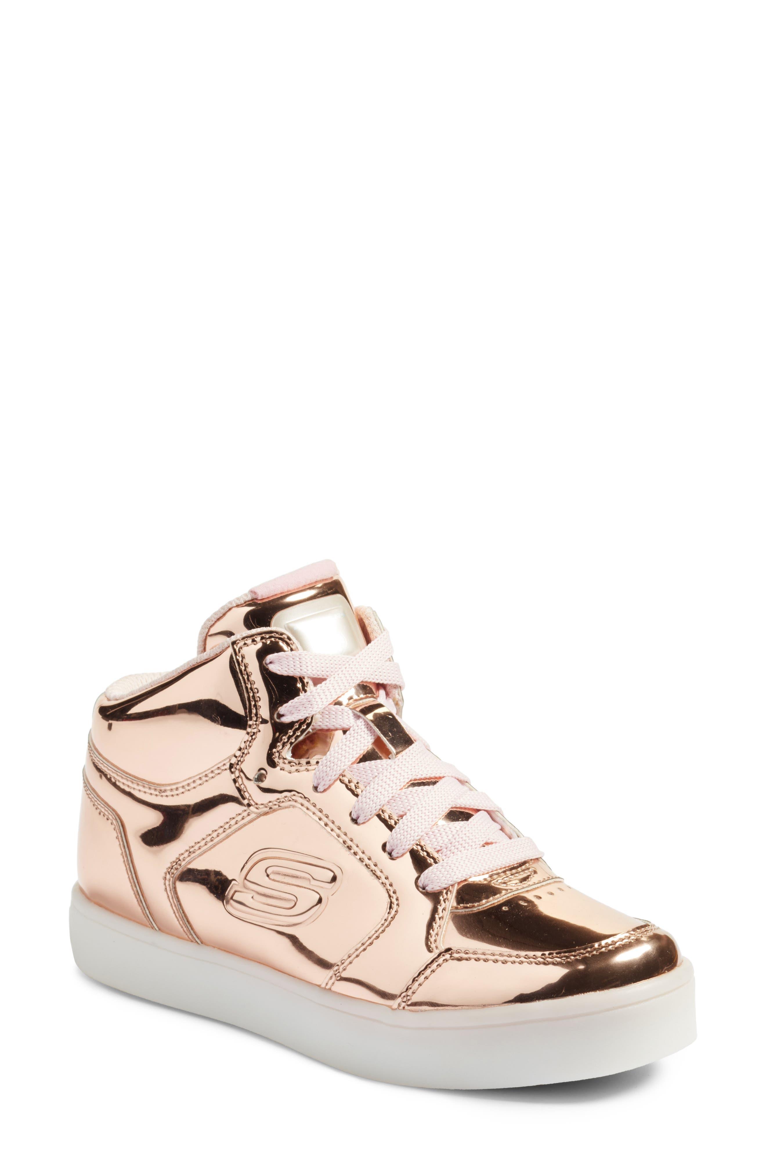 Energy Lights Metallic High Top Sneaker,                             Alternate thumbnail 6, color,                             Rose Gold
