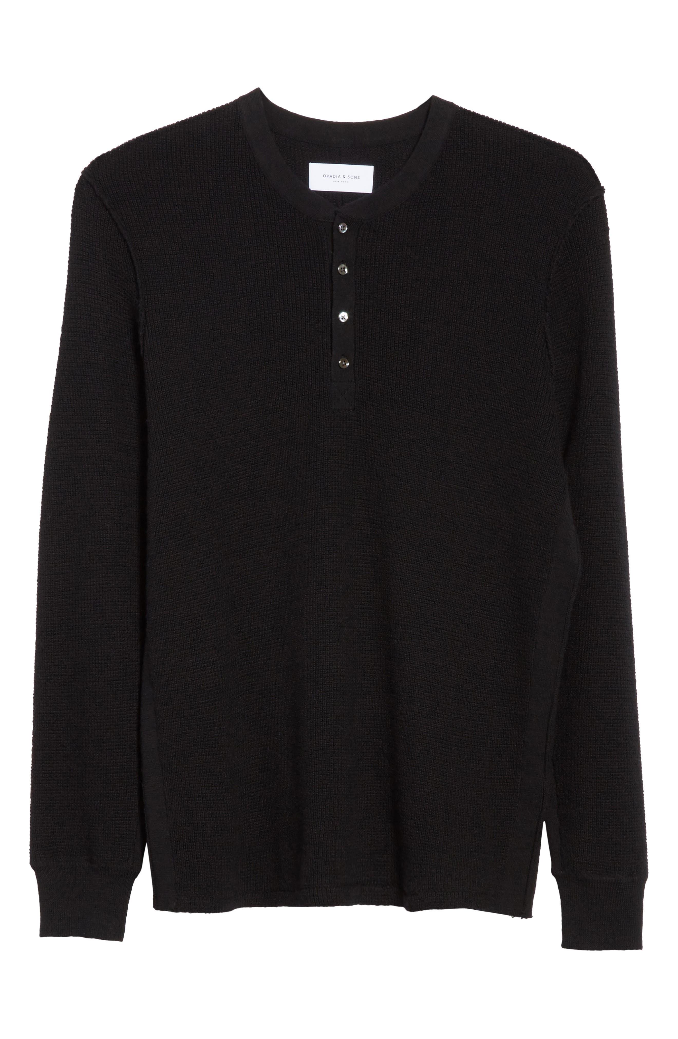 Long Sleeve Wool Henley,                             Alternate thumbnail 6, color,                             Black