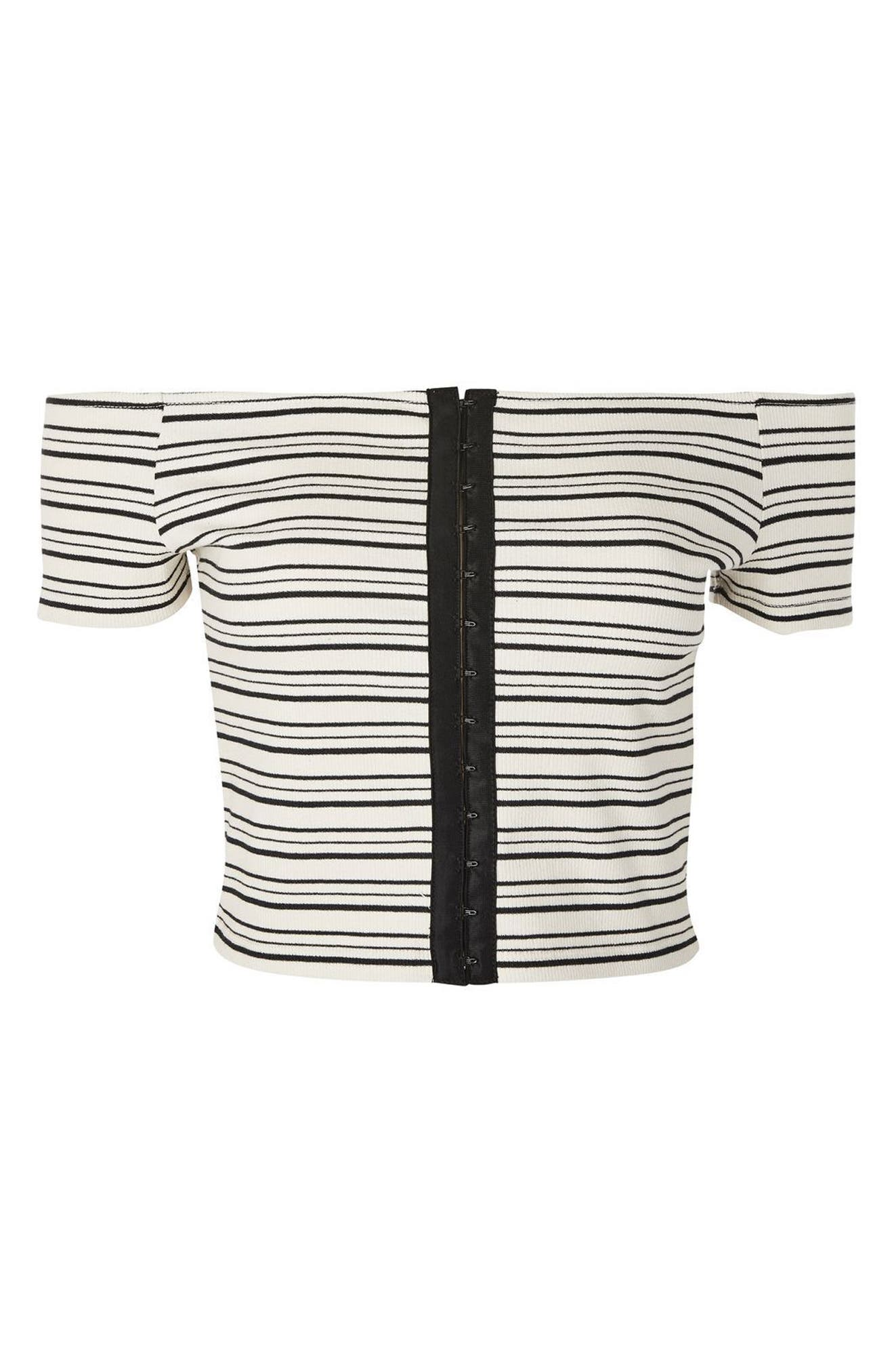 Stripe Off the Shoulder Crop Top,                             Alternate thumbnail 3, color,                             Black Multi