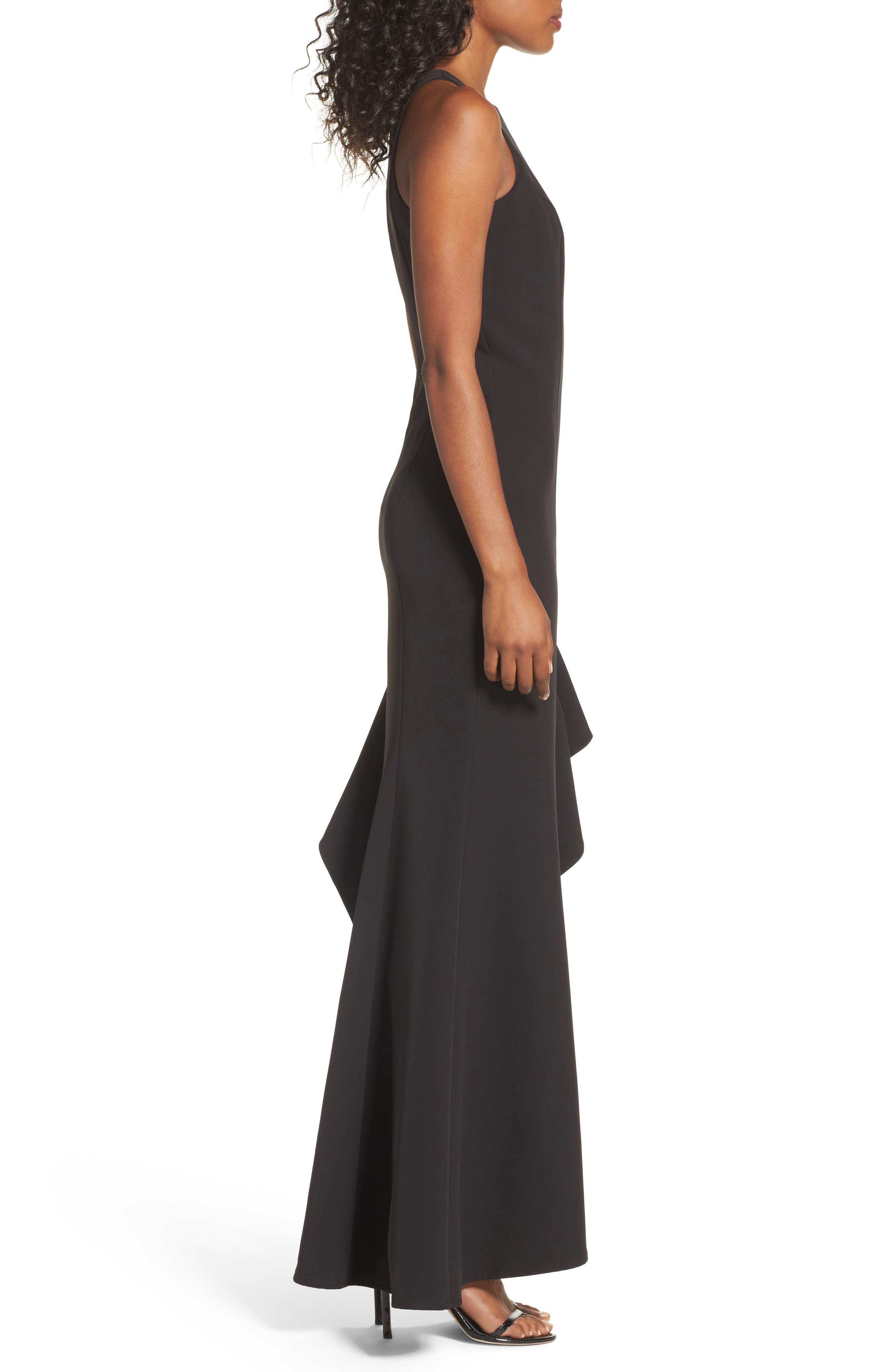 Stella Asymmetrical Ruffle Gown,                             Alternate thumbnail 3, color,                             Black