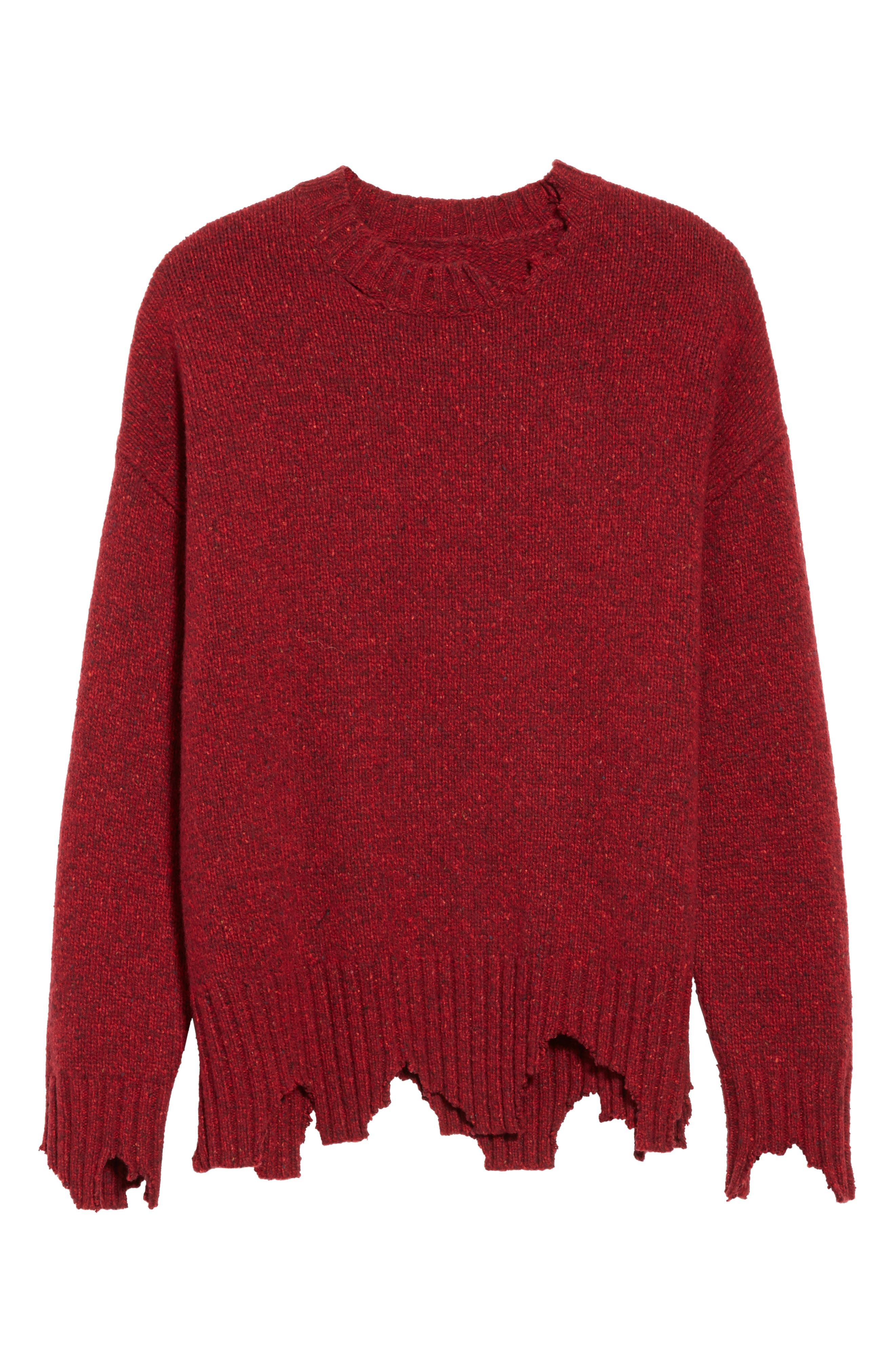 Destroyed Crewneck Sweater,                             Alternate thumbnail 6, color,                             Red
